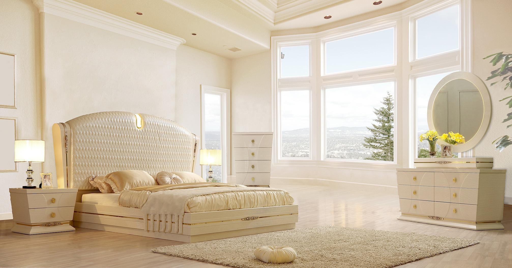 glossy white diamond cal king bedroom set 6pcs