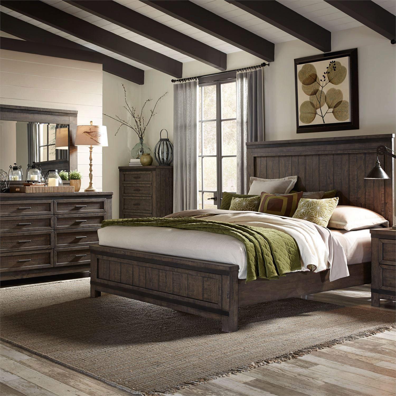 gray wood queen panel bedroom set 3pcs thornwood hills 759