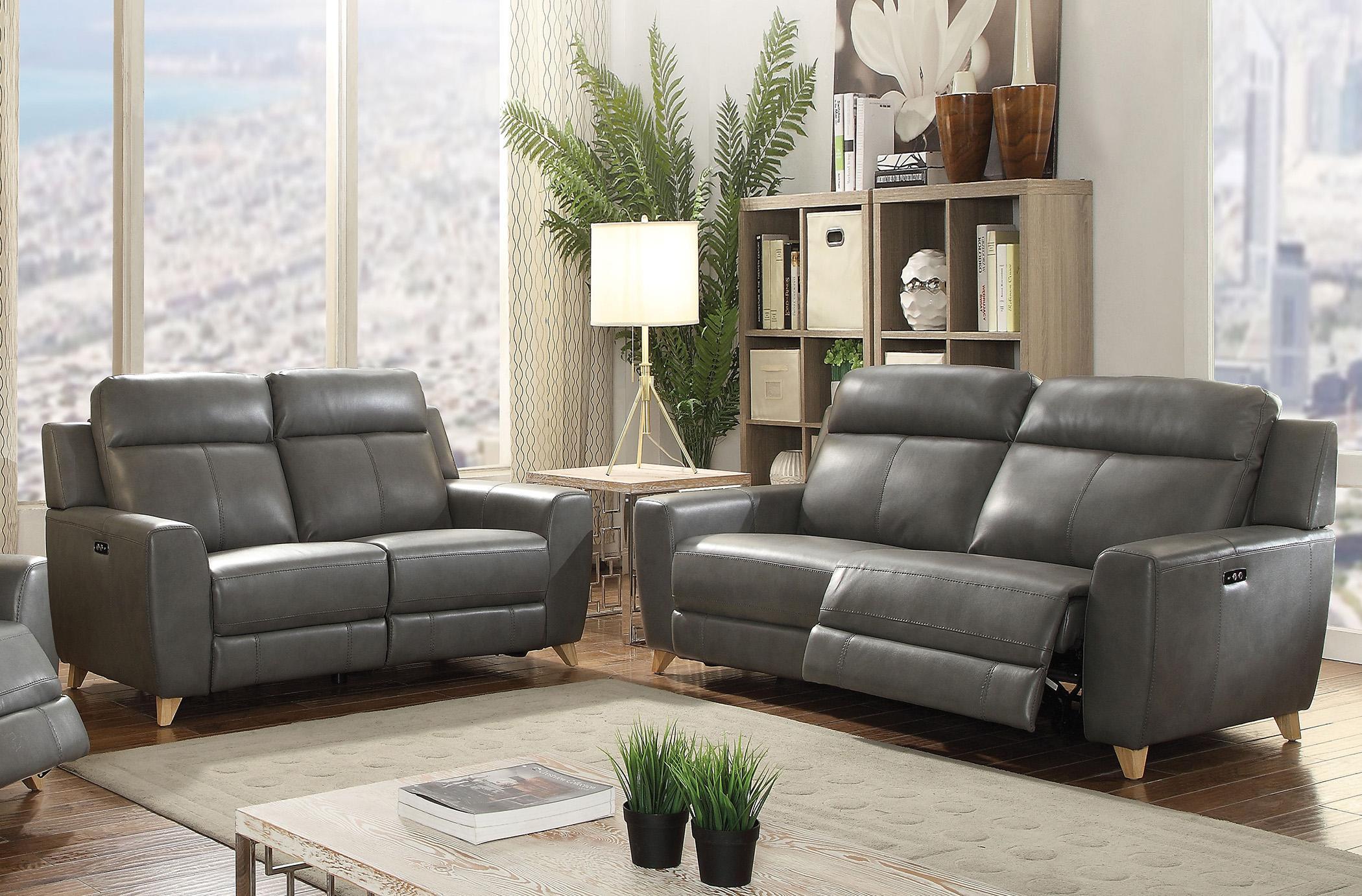 Grey Faux Leather Power Motion Sofa Set 2Pcs Cayden-54200 Acme Contemporary (Cayden-54200-Set-2)