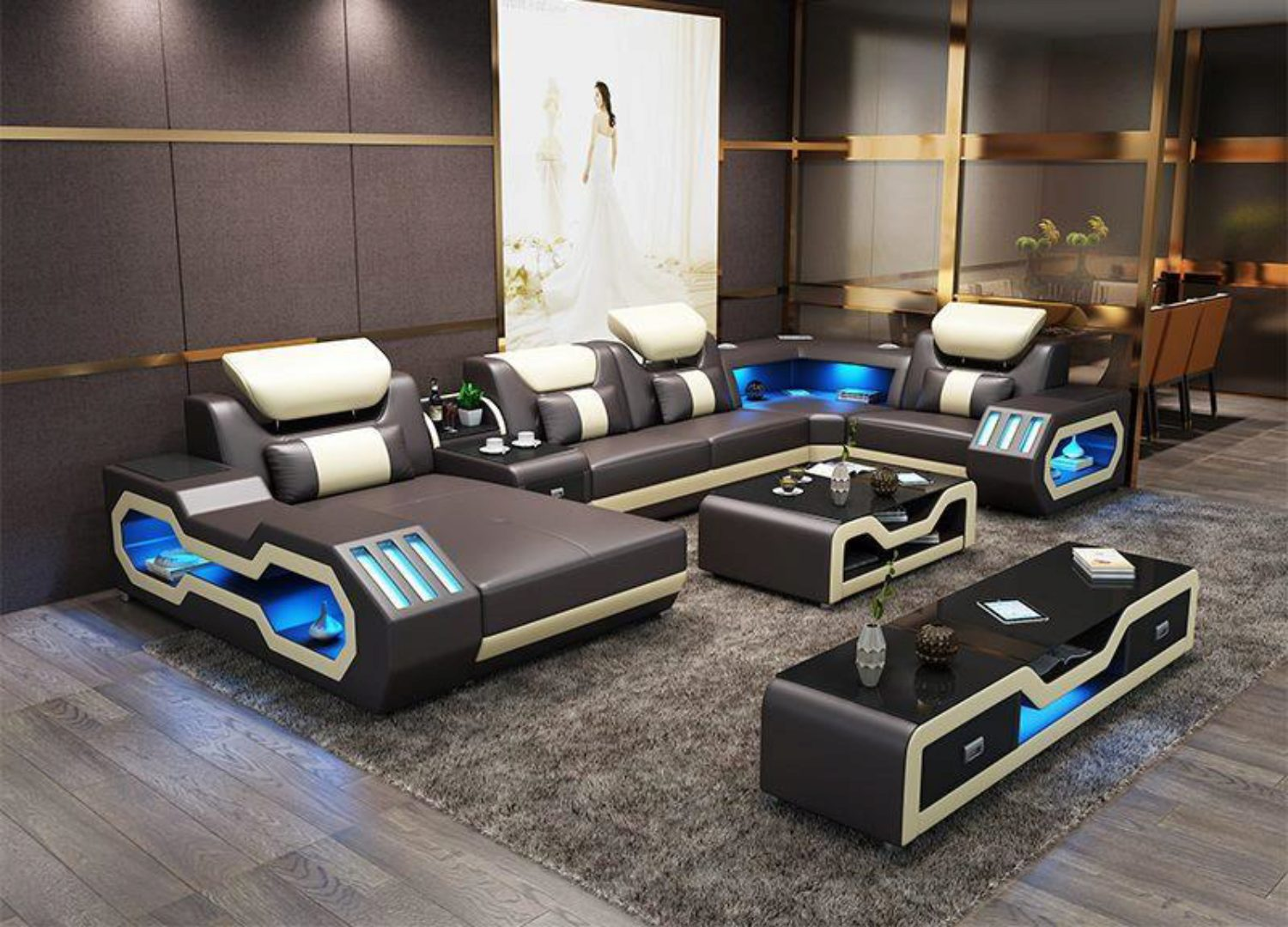 Picture of: Grey Top Leather Sectional Sofa Led Light Maxwest P866 Ultra Modern P866
