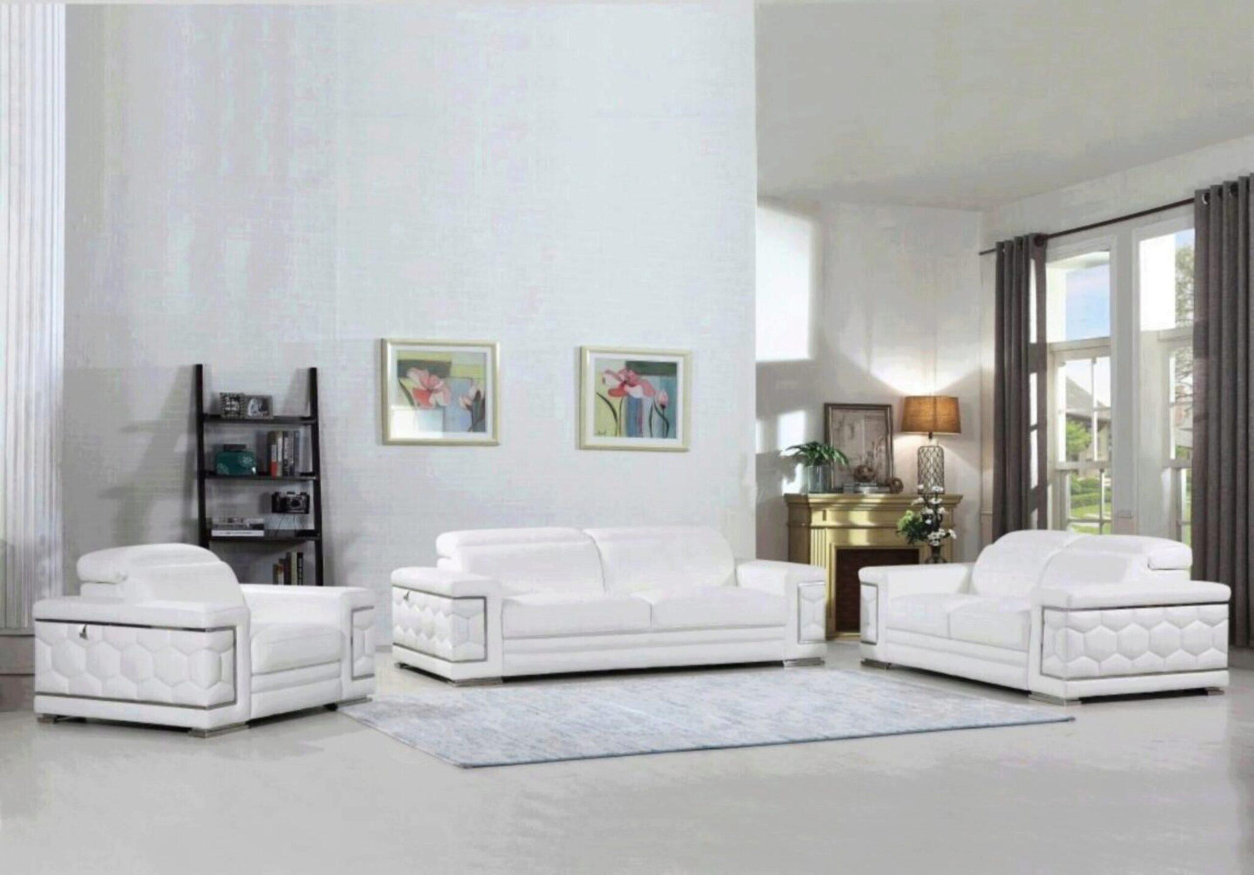 Hawkesbury Common Luxury Italian, White Leather Living Room Set