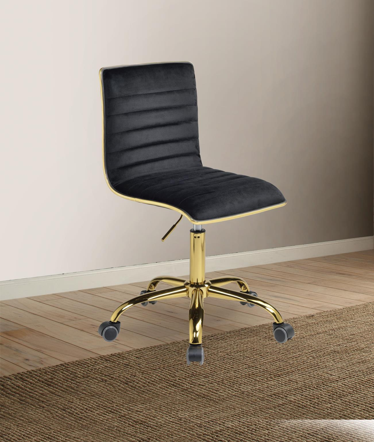 Home Office Chair Black Velvet Gold Alessio 92516 Acme Contemporary Modern Alessio 92516 Buy Online