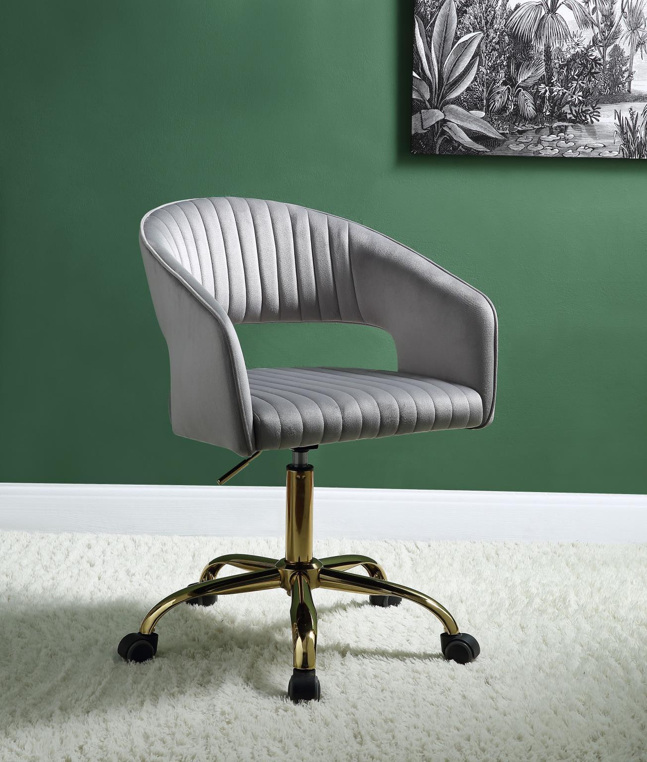Home Office Chair Gray Velvet Gold Hopi 92940 Acme Modern Contemporary Hopi 92940 Buy Online