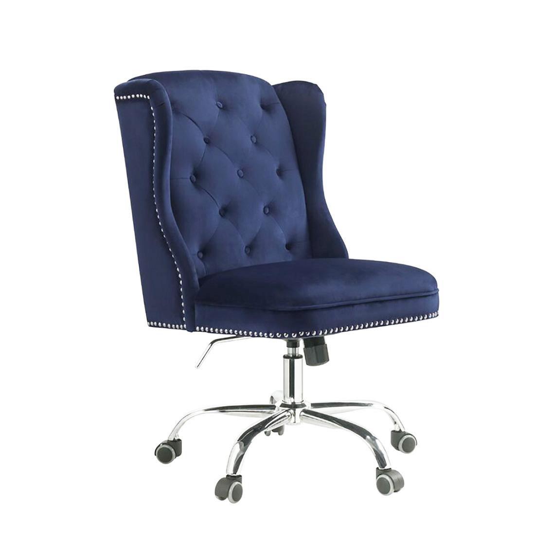 Home Office Chair Midnight Blue Velvet Jamesia 92665 Acme Vintage Contemporary Jamesia 92665 Buy Online