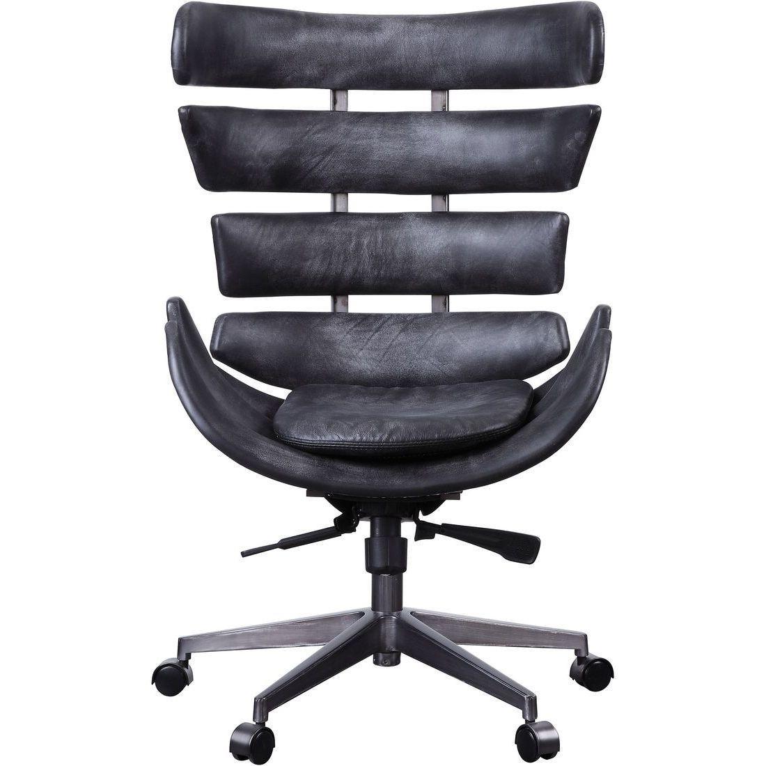 Home Office Chair Vintage Black Genuine Leather Aluminum Megan 92552 Acme Megan 92552