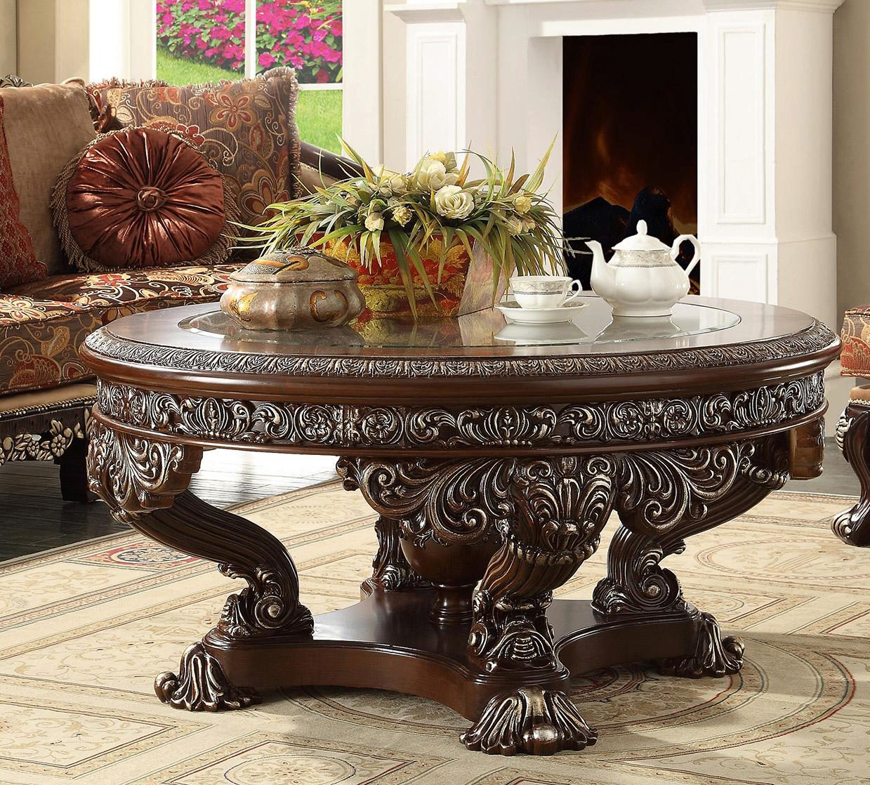 Dark Red Mahogany Sectional Sofa Set 4pcs W Coffee Table Traditional Homey Design Hd 111 Hd 111 Set 4
