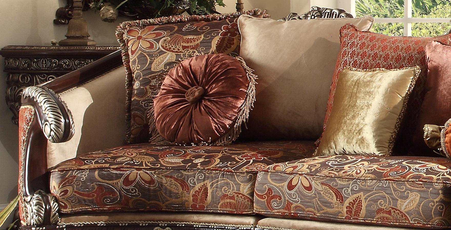 Dark Red Mahogany Sectional Sofa Traditional Homey Design ...