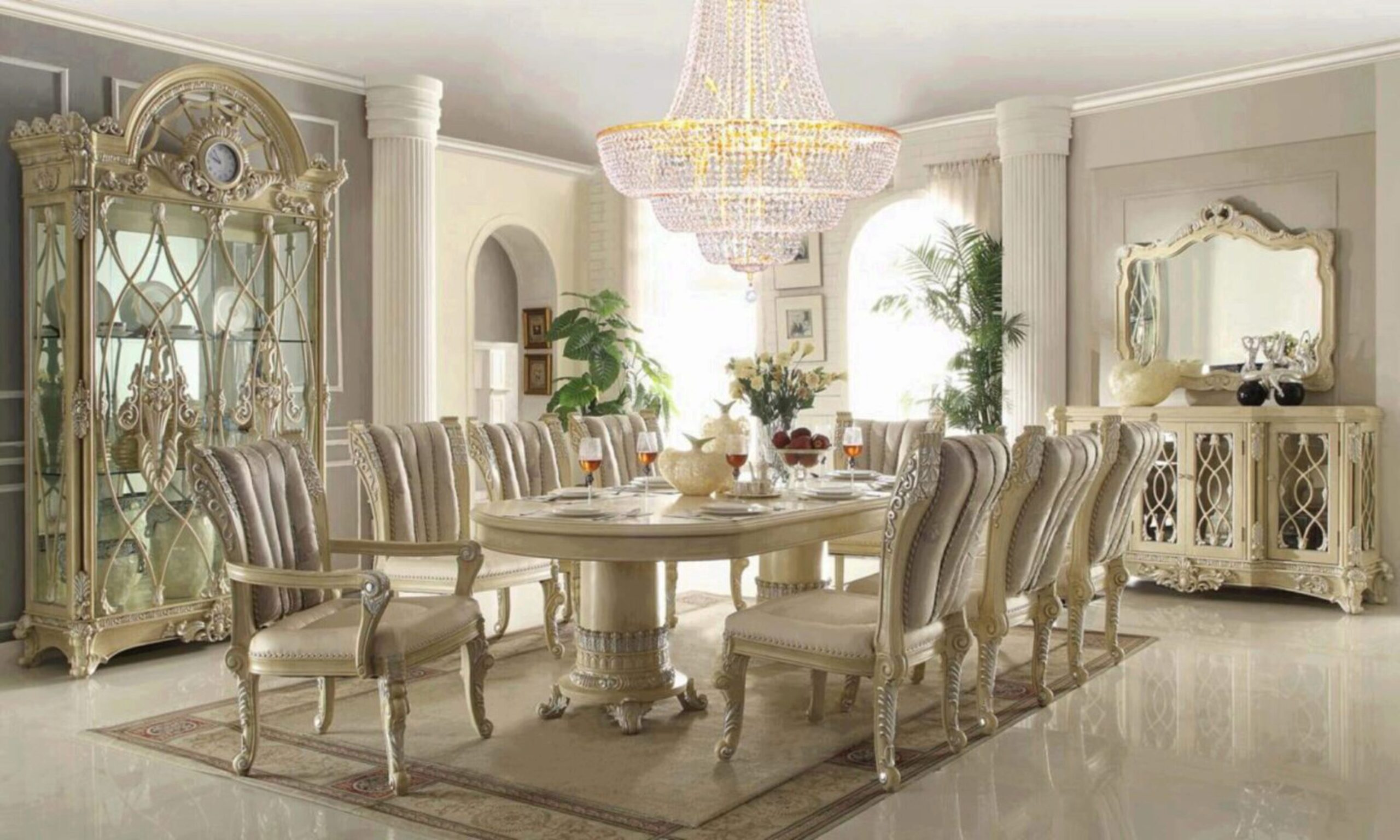 Luxury Cream Pearl Wood Oval Dining Table Set 9 Traditional Homey Design  HD 9