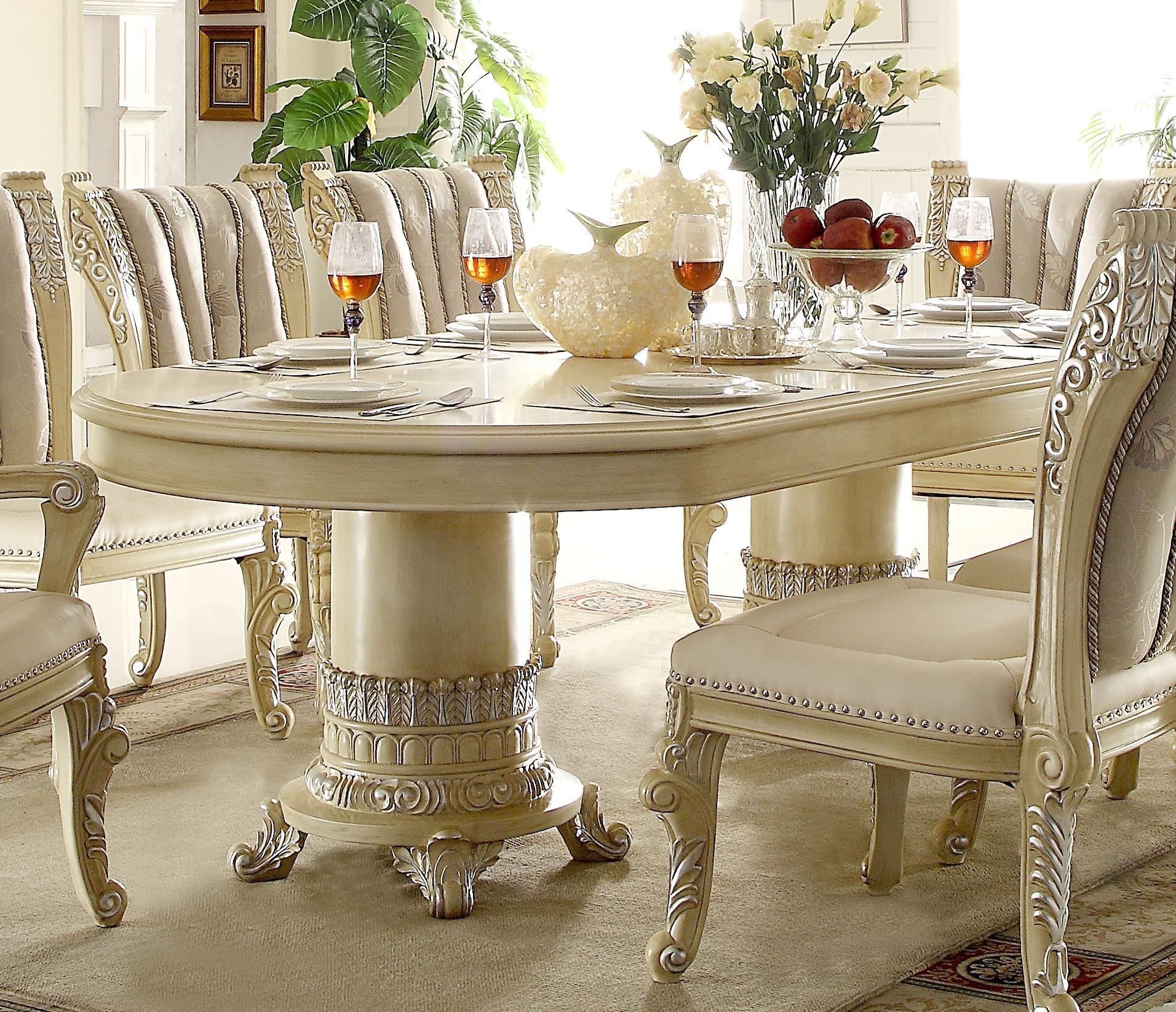 Luxury Cream Pearl Wood Oval Dining Table Set 9 ...