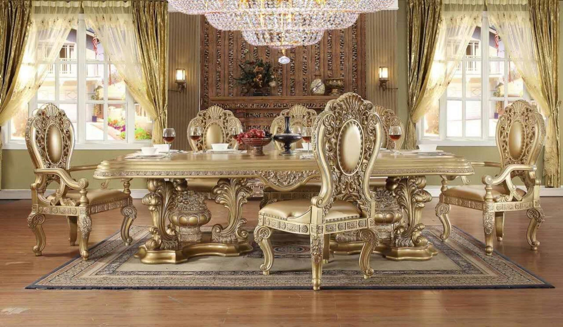 Royal Antique Gold Dining Room Set 9p Homey Design Hd 8016 Traditional Classic Hd 8016 Set 9 Buy Online
