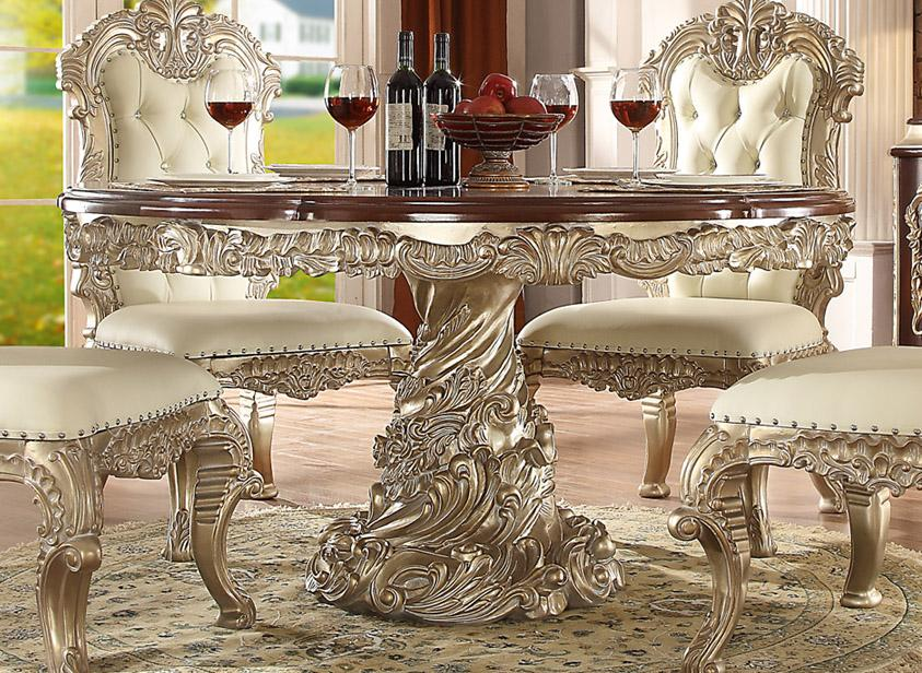 Antique White Silver Round Dining Table Set 5Pcs ...
