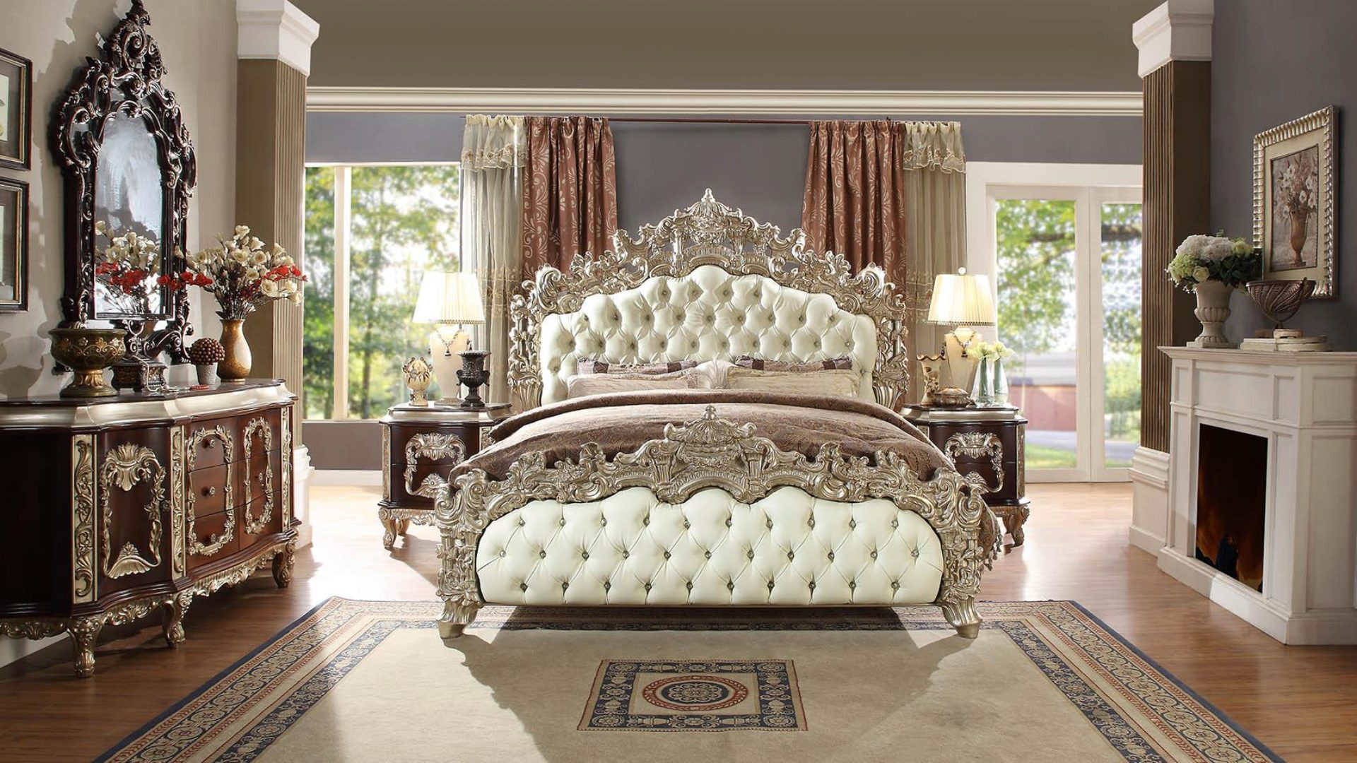 Antique White Silver Cal King Bedroom Set 5pcs Traditional Homey Design Hd 8017 Hd 8017 Bset5 Ck