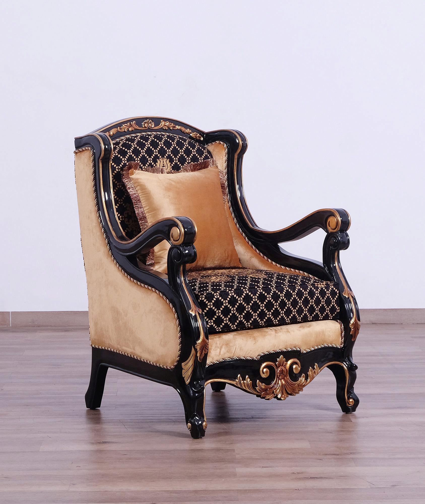 Imperial Luxury Black & Dark Gold RAFFAELLO Arm Chair ...