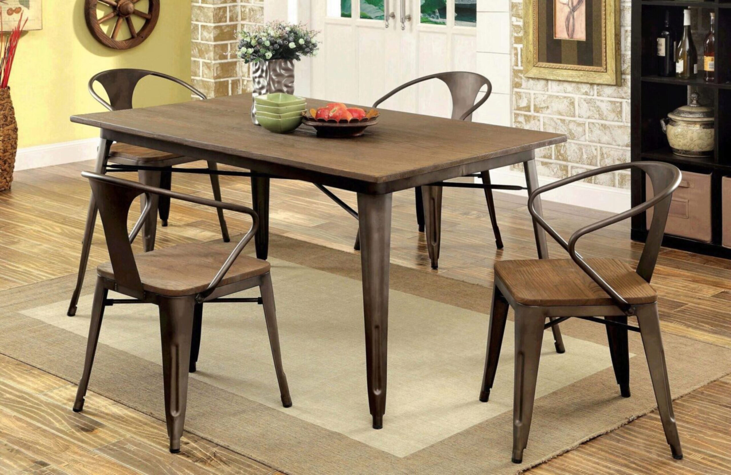 Metal Natural Elm Dining Set, Industrial Style Dining Room Table