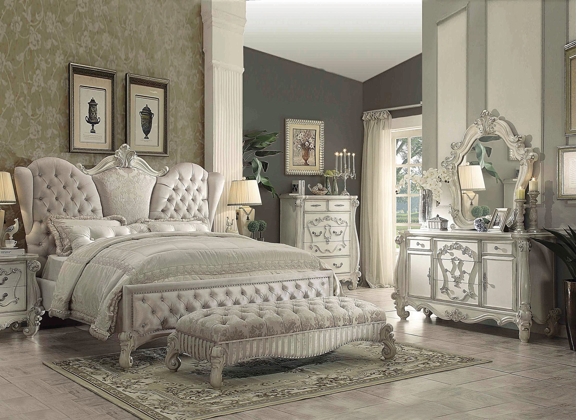 Ivory Velvet Bone White King Bedroom Set 3pc W Dresser Versailles 21127ek Acme Versailles 21127ek Set 3