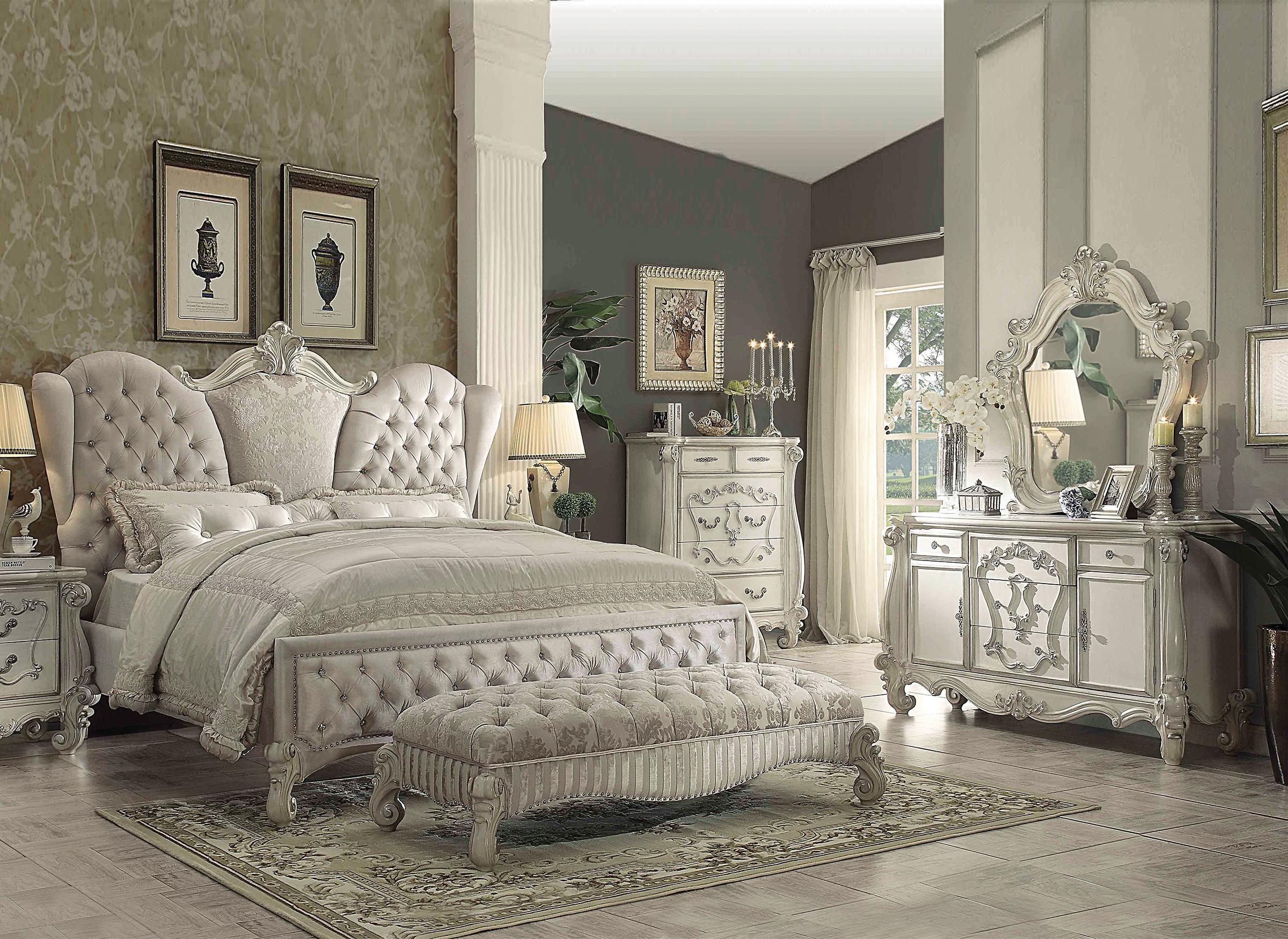 ivory velvetbone white king bedroom set 3pc wdresser