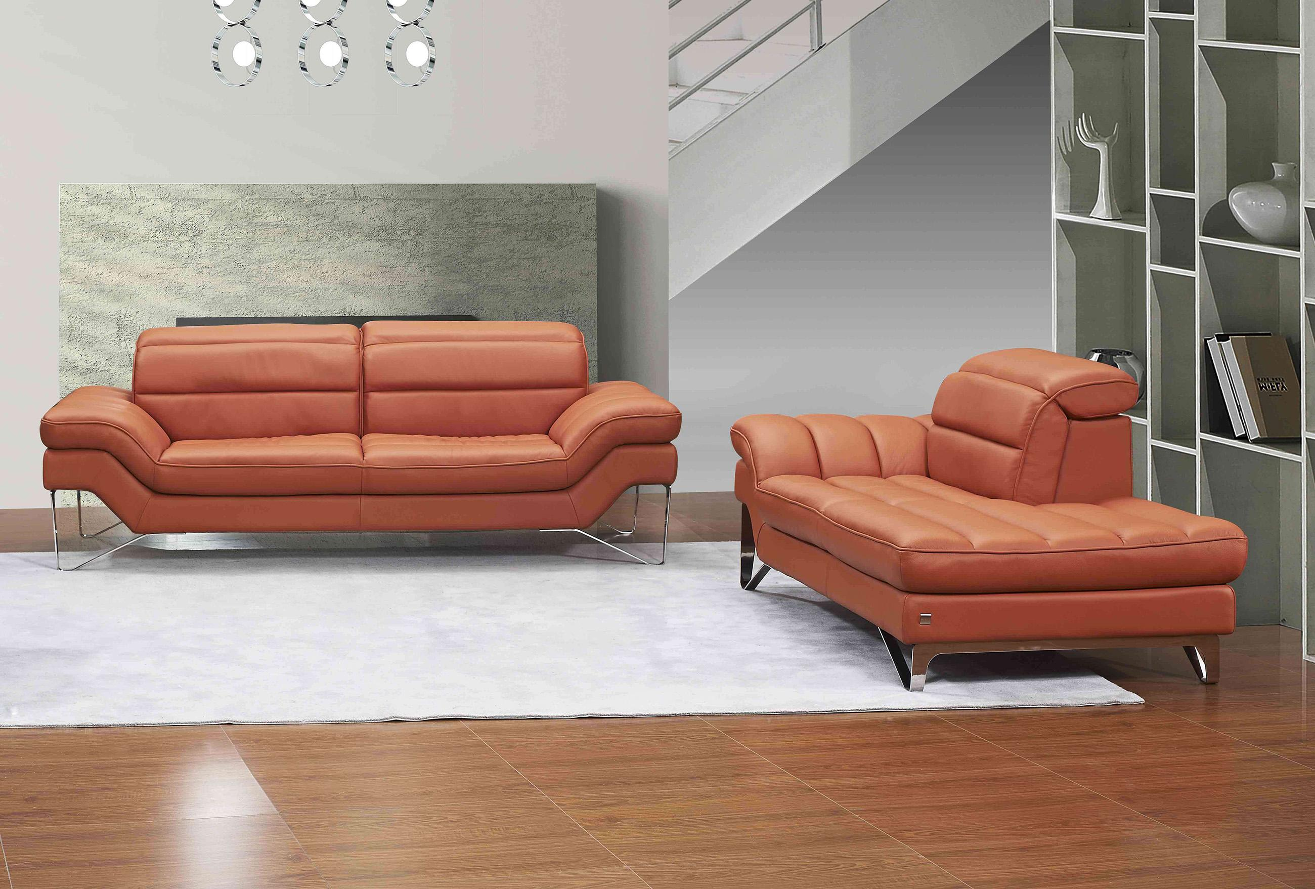 Pumpkin Premium Italian Leather Sofa Contemporary J M Astro Sku18062 Sofa