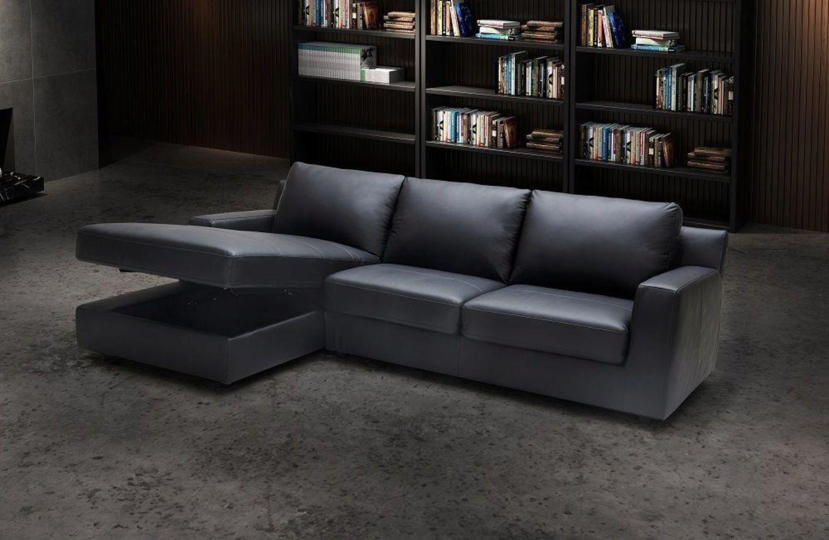 Premium Grey Leather Sectional Sleeper Sofa Lhc Modern J M Elizabeth Sku18242 Sectional Lhc