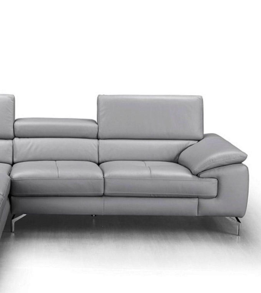 Grey Premium Italian Leather Sectional Sofa Lhc Modern J M Olivia Sku18275 Sectional Lhc