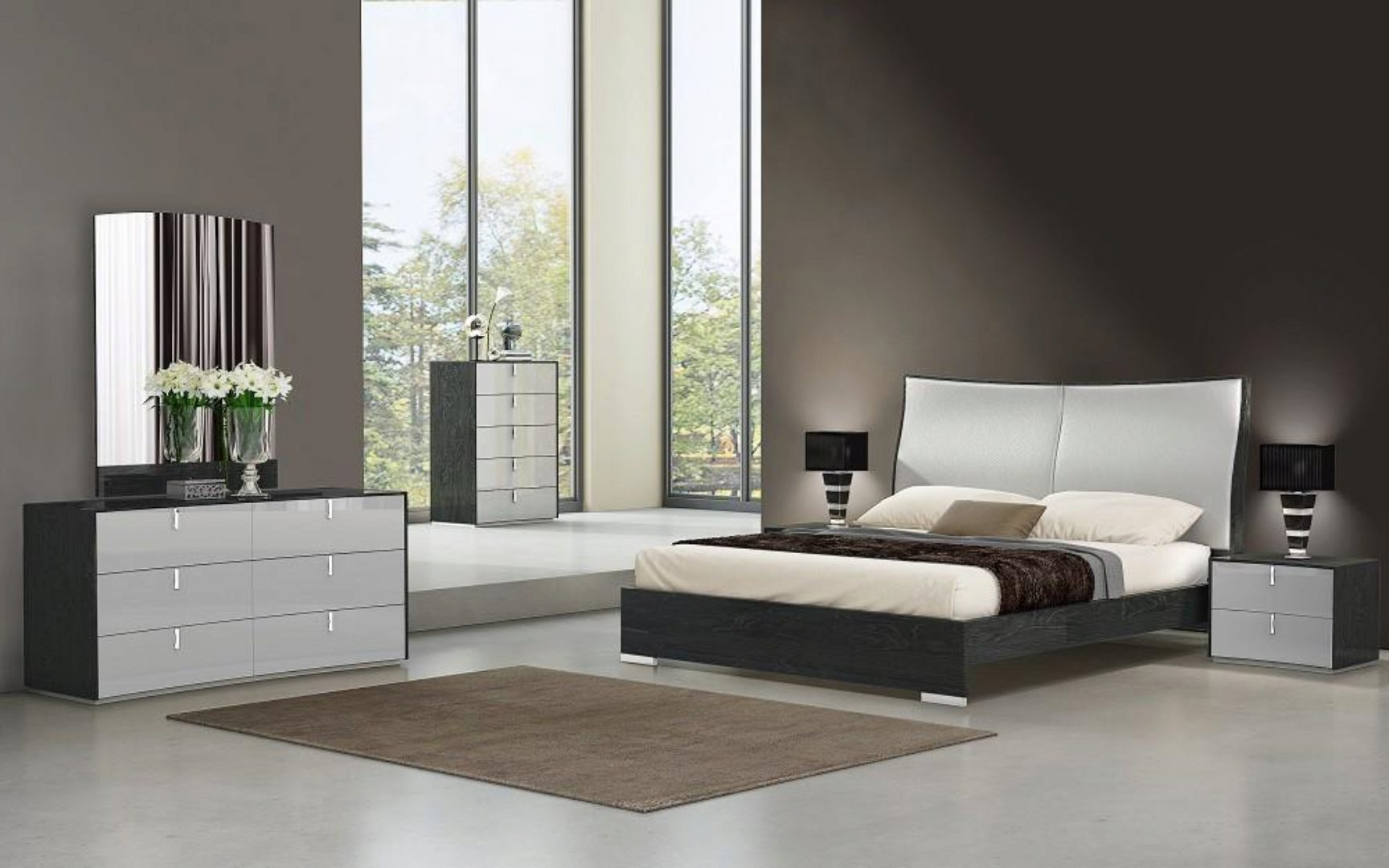 jm vera modern grey finish  light grey eco leather king