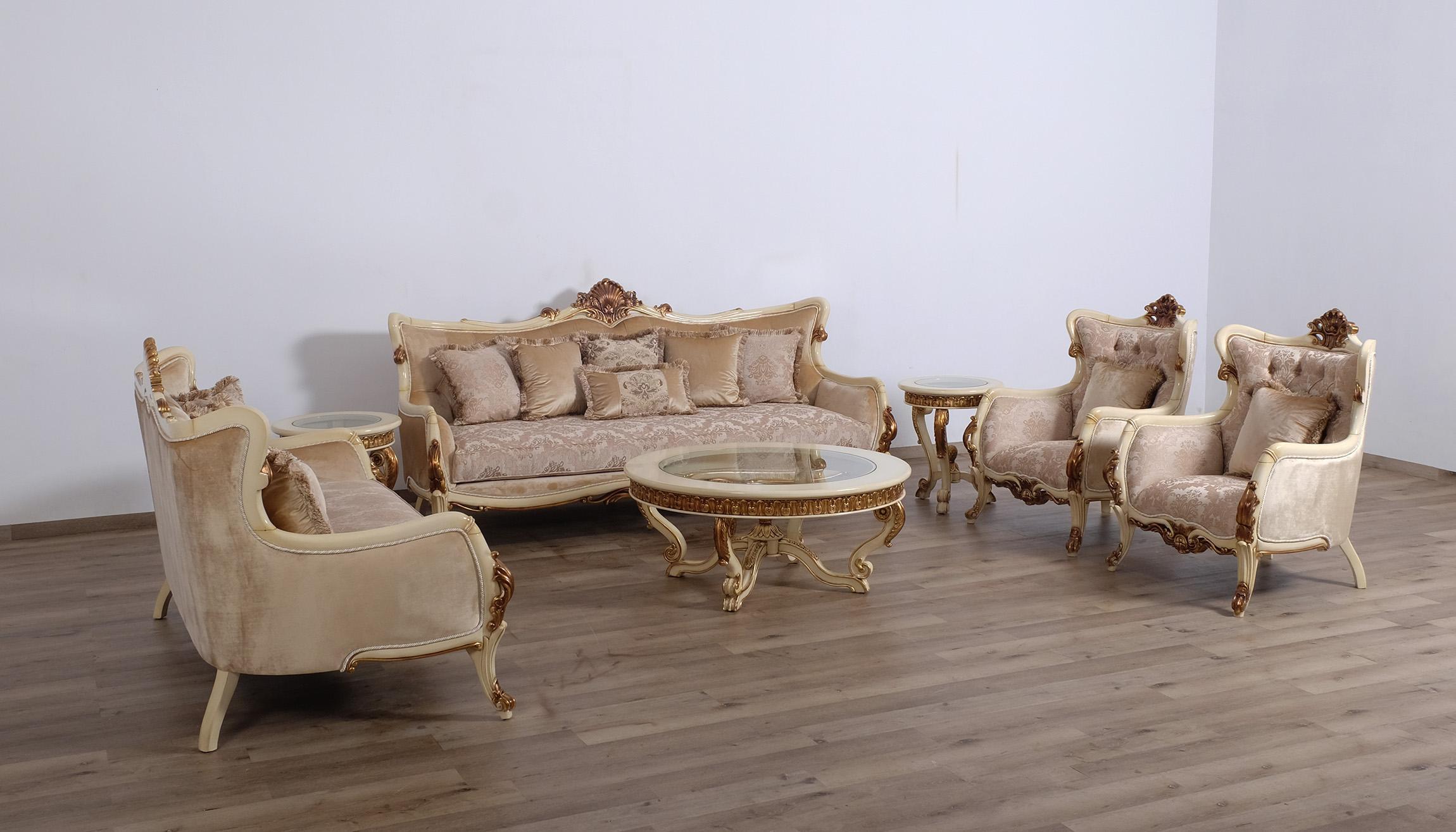 Luxury Antique Gold Beige Angelica Coffee Table Set 2 Pcs European Furniture 47075 Ct Set 2