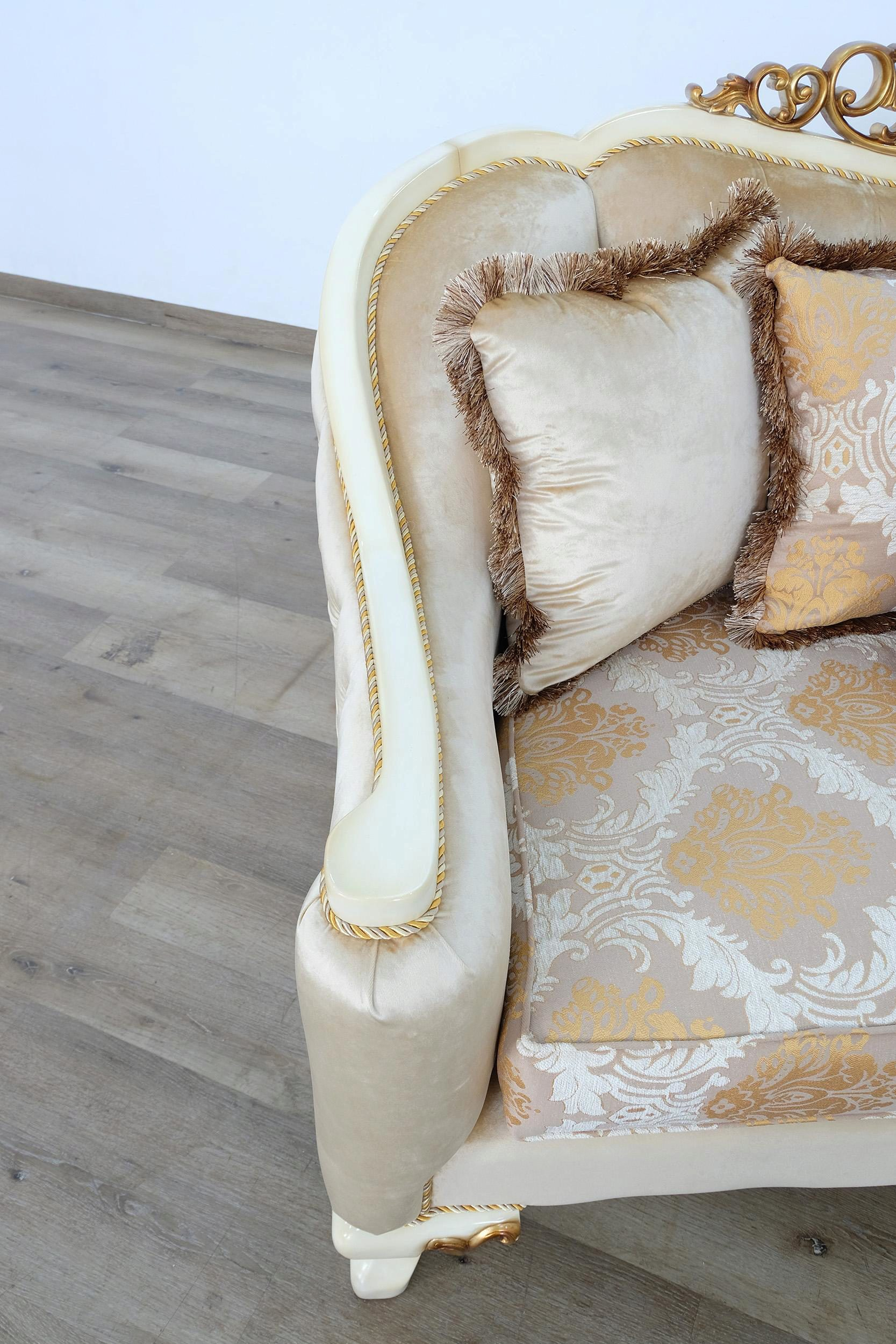 Luxury Beige Antique Dark Gold Wood Trim Angelica Sofa Set 4 European Furniture 45352 S Set 4