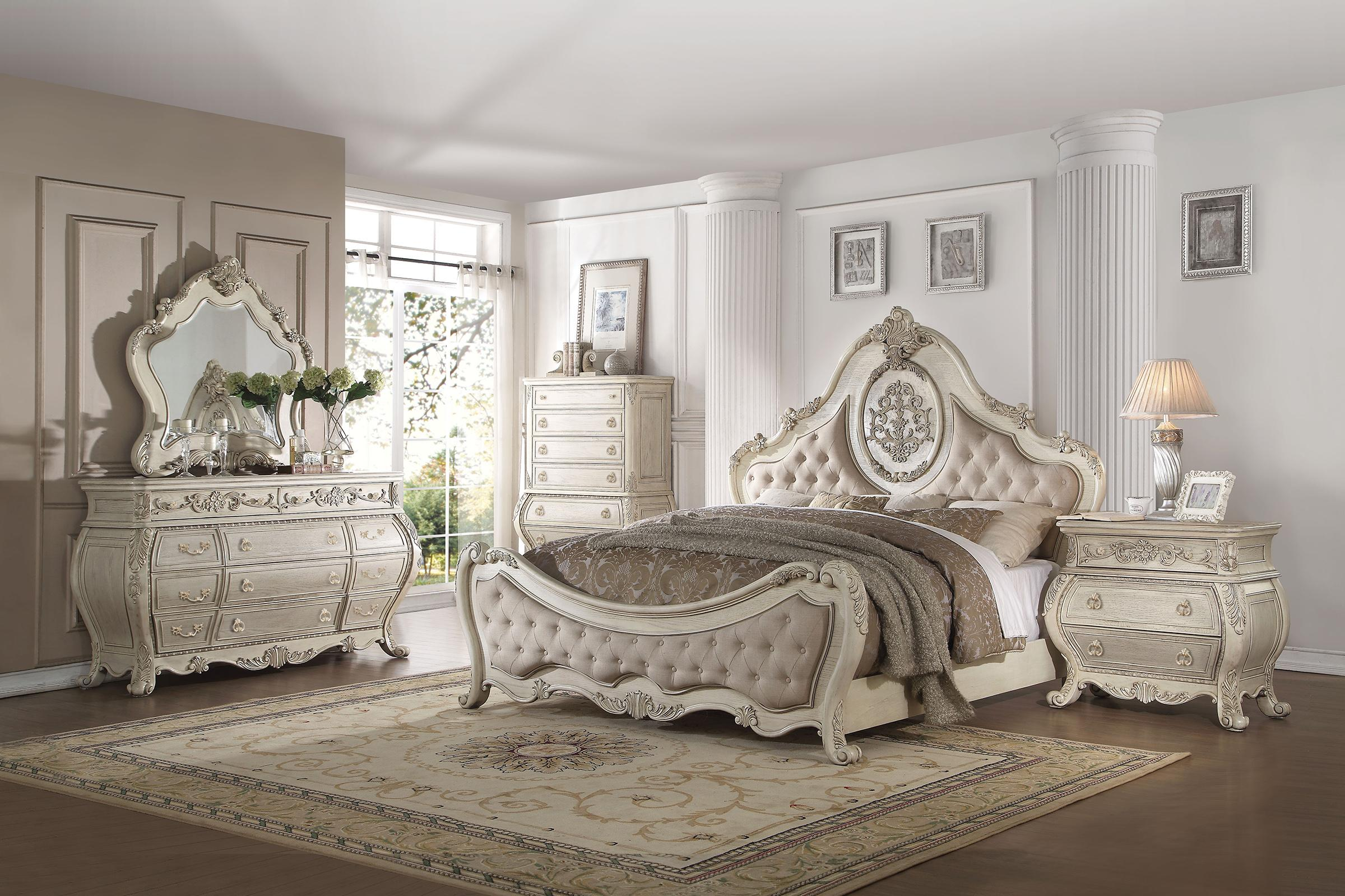Luxury Beige Linen Antique White Queen Bedroom Set 3p Ragenardus 27010q Acme Ragenardus Wh 27010q Set 3