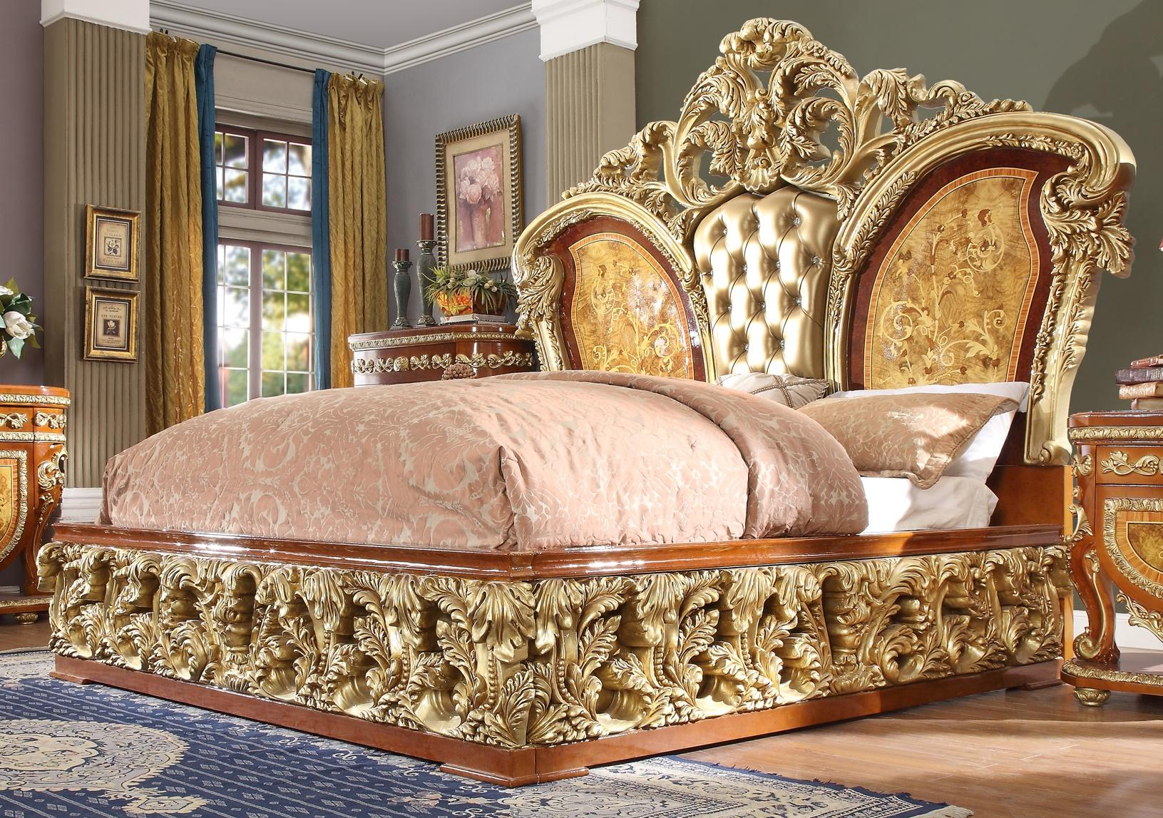 Luxury CAL King Bedroom Set 3 Psc Gold Curved Wood Homey ...