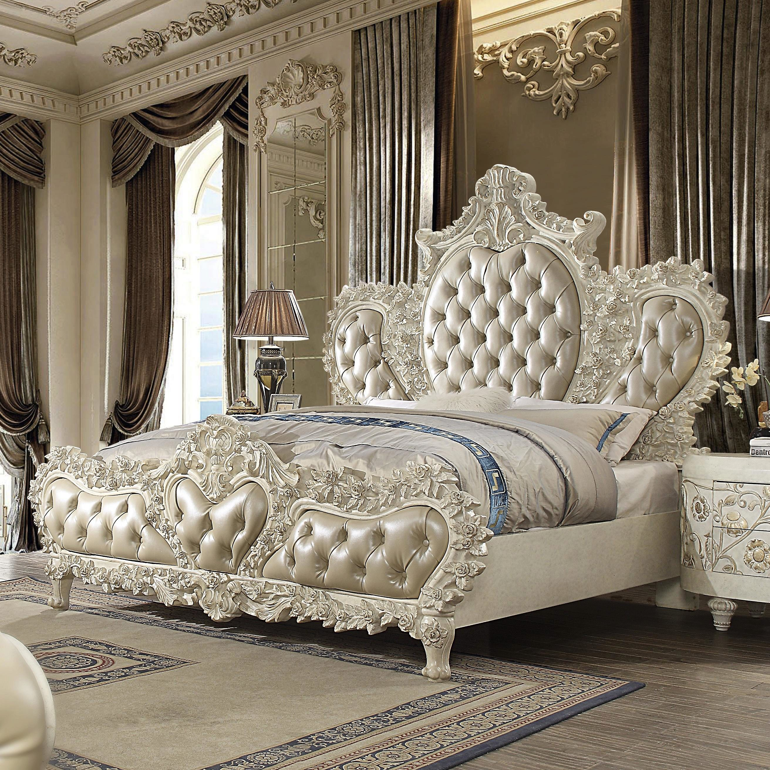 Luxury Cal King Bedroom Set 5 Pcs White Traditional Homey Design Hd 8030 Hd 8030 Bset5 Ck