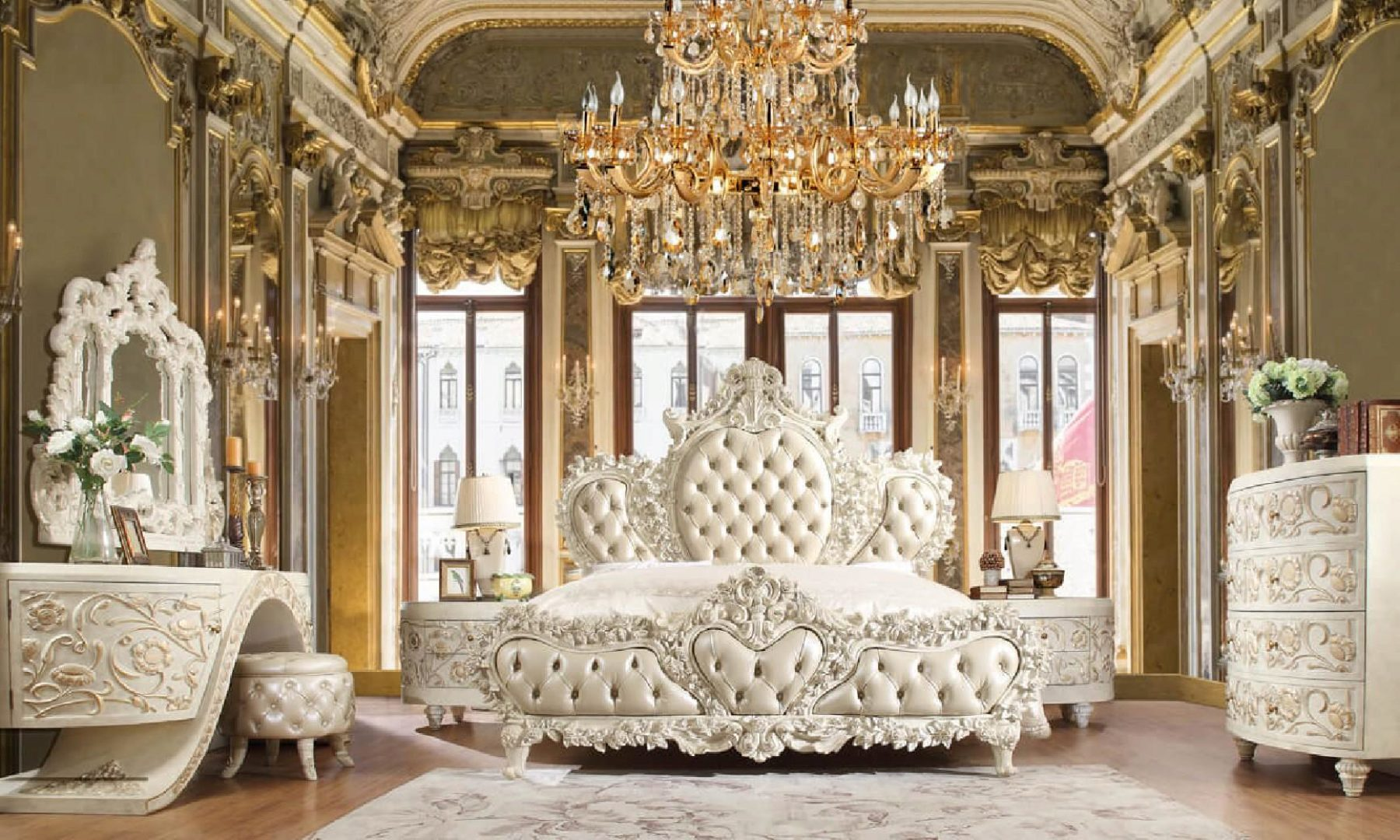 Luxury CAL KING Bedroom Set 5 Pcs White Traditional Homey ...