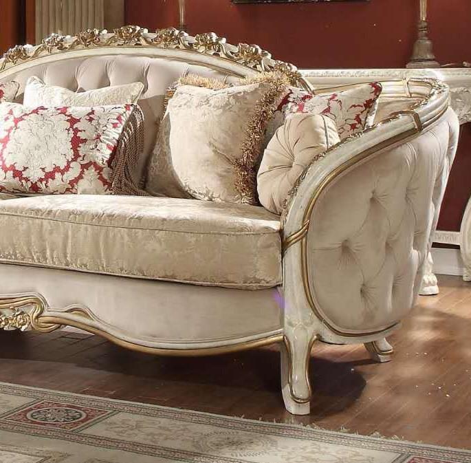 Luxury Cream Chenille Tufted Sofa Traditional Homey Design ...