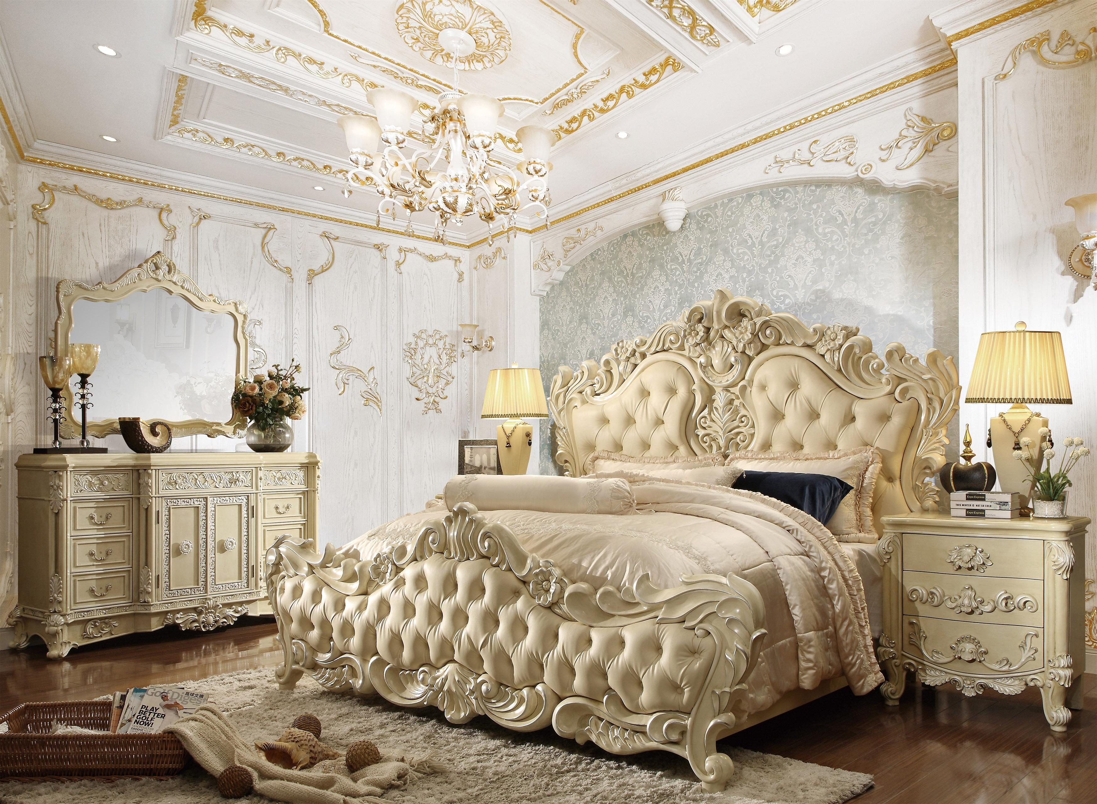 Luxury Cream Cal King Bedroom 5pcs Carved Wood Traditional Homey Design Hd 5800 Hd 5800 Bset5 Ck