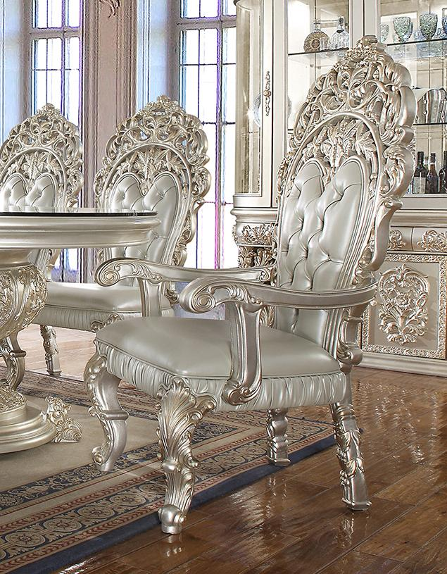 Baroque Belle Silver Round Dining Room Set 5Pcs ...
