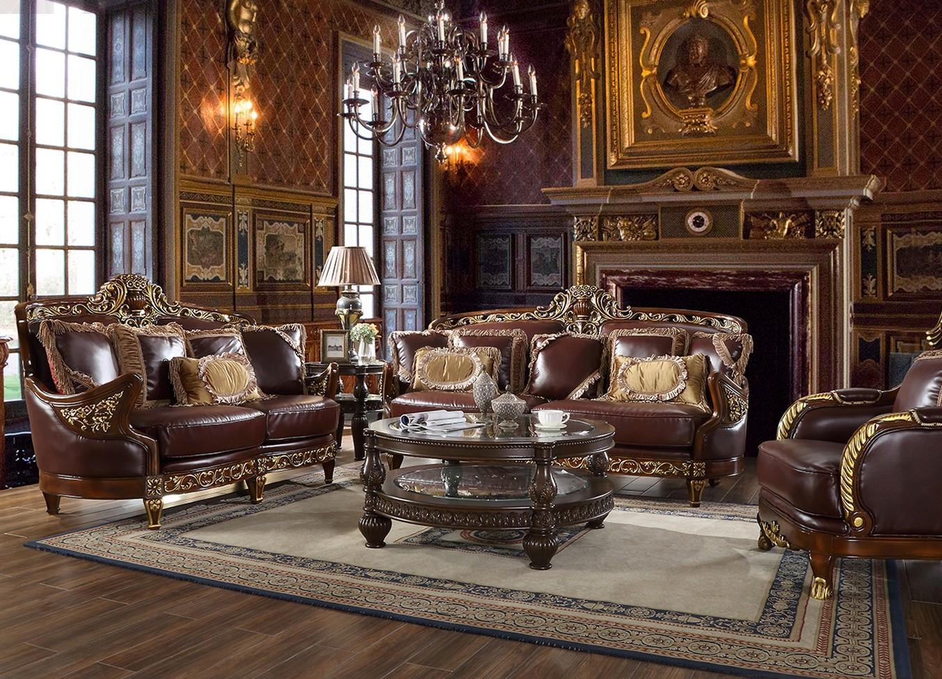 Mahogany & Metallic Gold Finish Sofa Traditional Homey ...