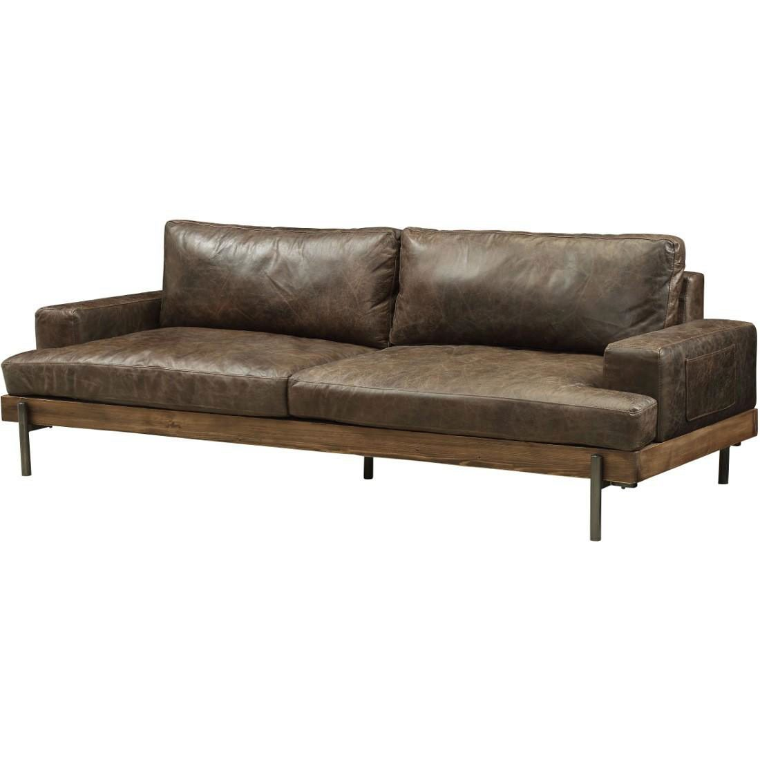 Georgie Genuine Leather 98 Quot Tuxedo Arms Sofa Brown Vintage