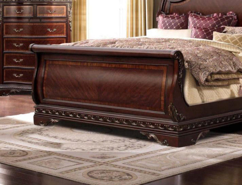 Picture of: Mcferran B188 Bella Traditional Rich Walnut Eastern King Size Sleigh Bed B188 Ek Bed