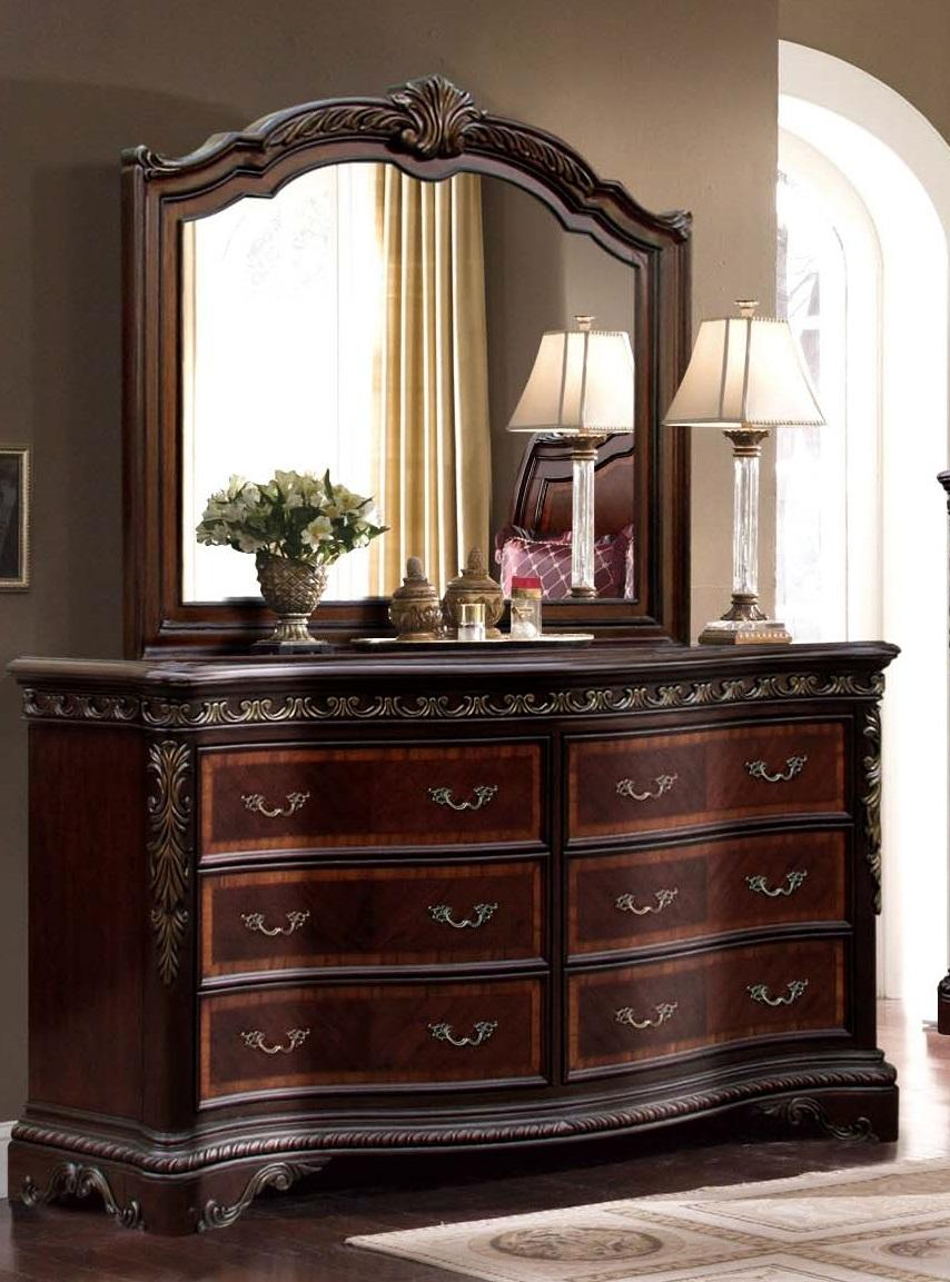 Mcferran B188 Bella Traditional Rich Walnut Queen Size Sleigh Bedroom Set 5 Pcs B188 Q Set 5