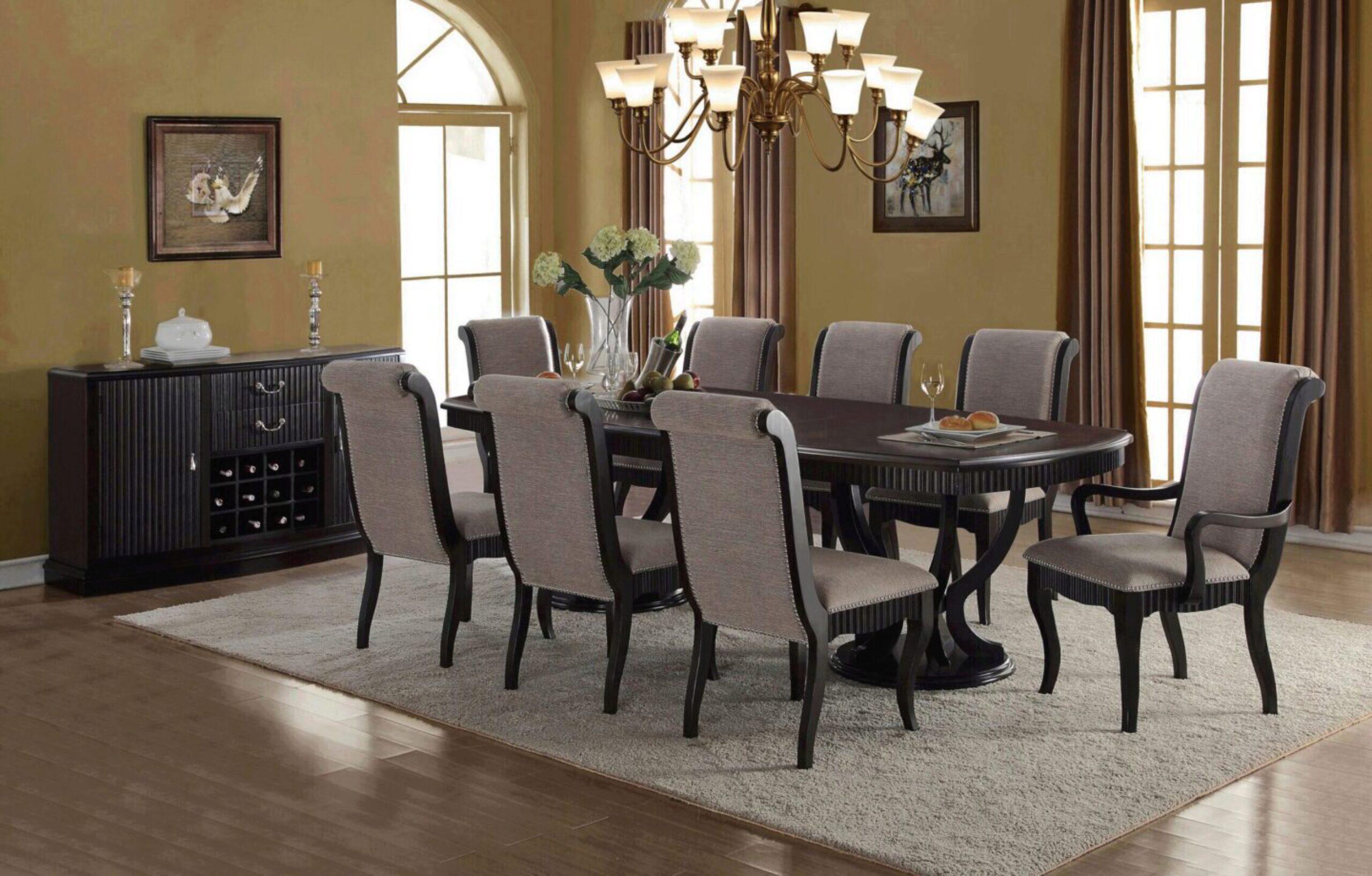 Formal Dark Brown Espresso Finish Grey, Formal Dining Room Table Set Up