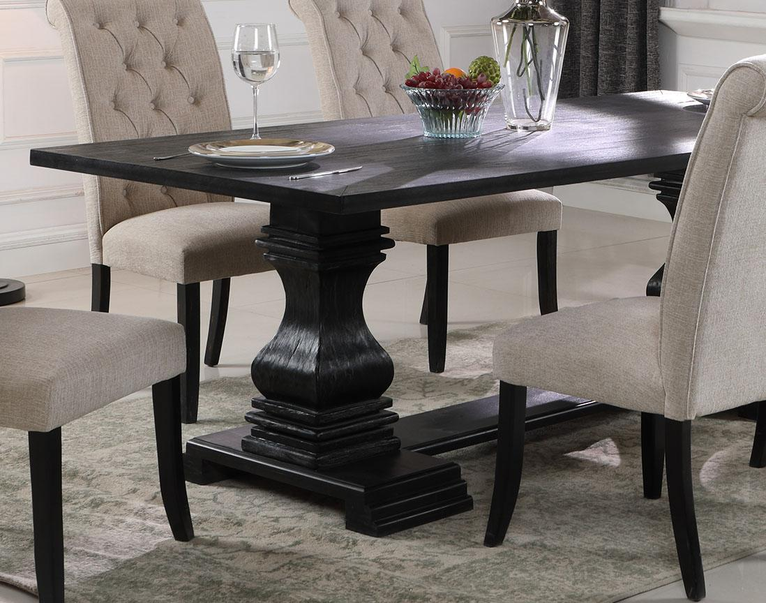 black double pedestal table  linen fabric chairs dining