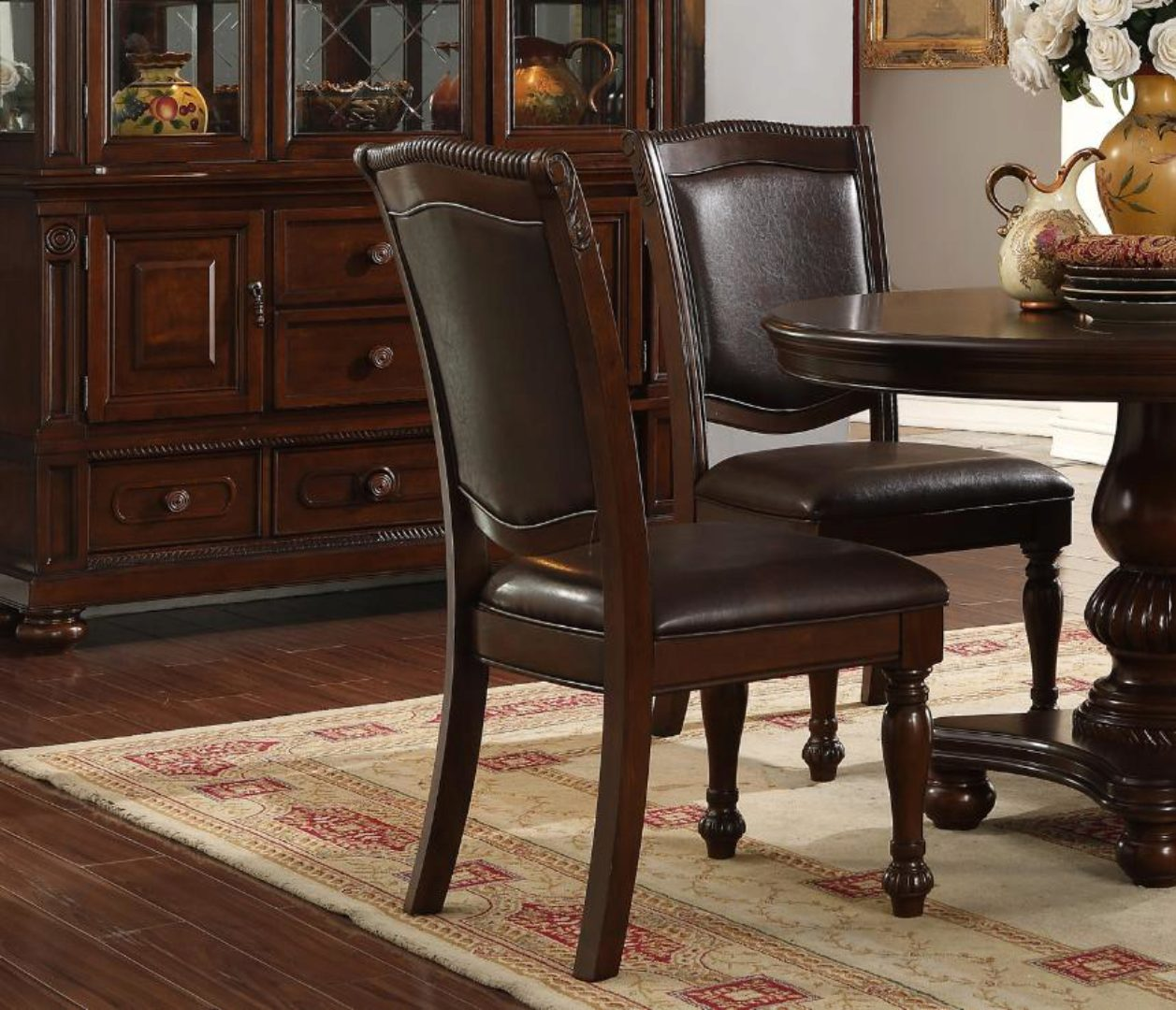 Picture of: Brown Rich Wood Round Dining Table Set 5pcs Mcferran D7900 4848 D7900 4848 Set 5