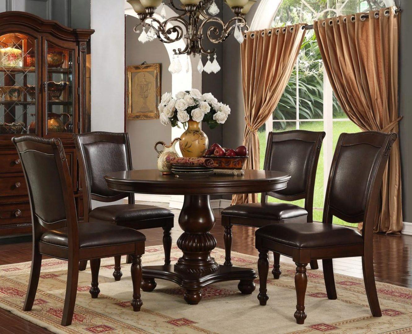 Brown Rich Wood Round Dining Table Set 5pcs Mcferran D7900 4848 D7900 4848 Set 5