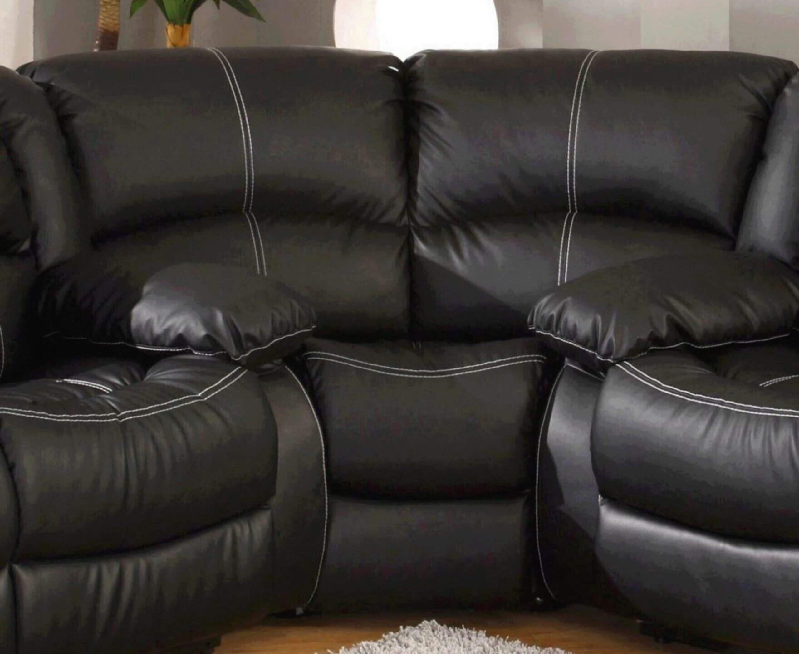 Black Faux Leather Reclining Motion, Faux Leather Curved Sectional Sofa