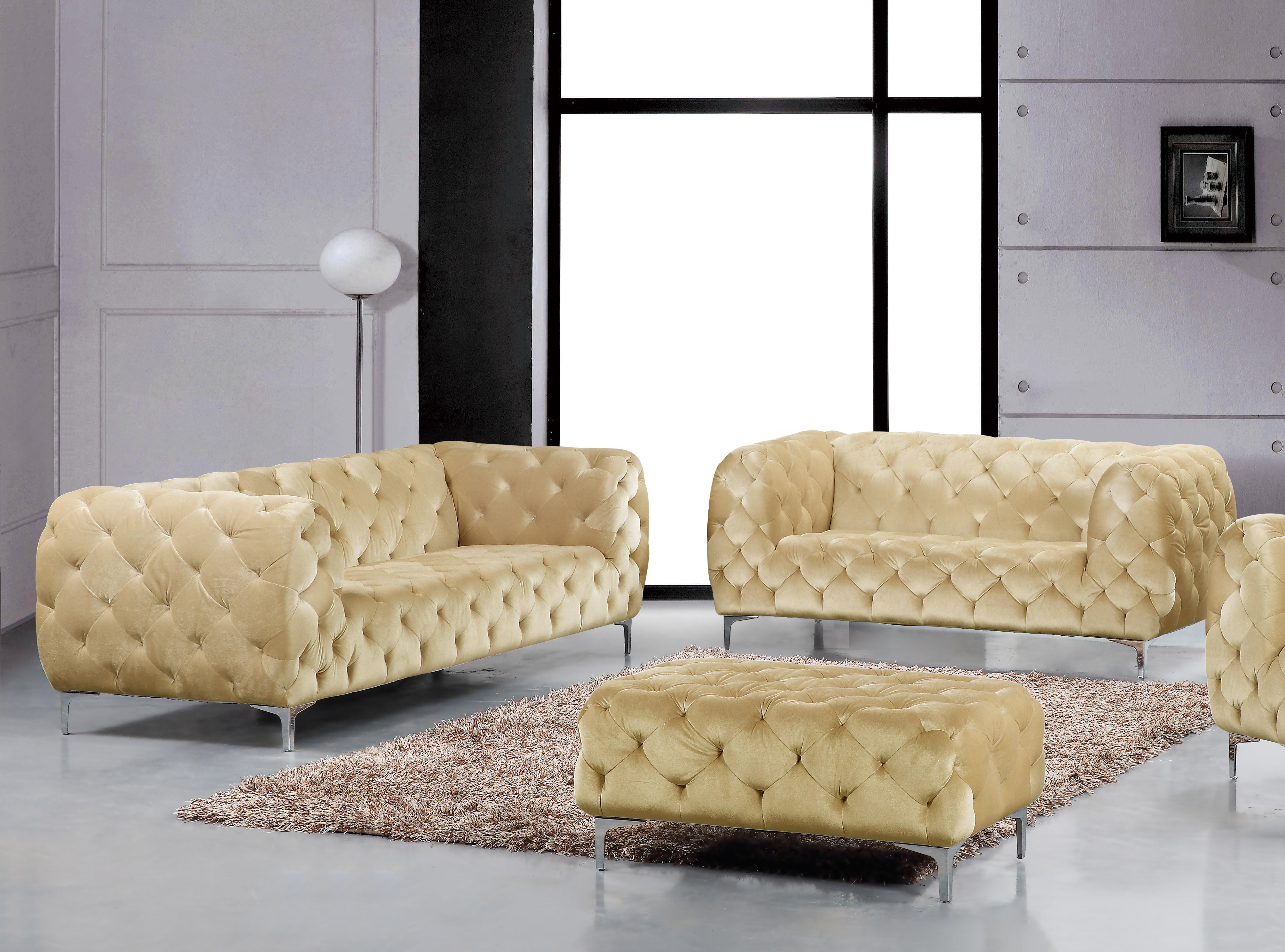 Picture of: Beige Velvet Tufted Sofa Loveseat Set 2pc Modern Meridian Furniture 646 Mercer 646be Set 2