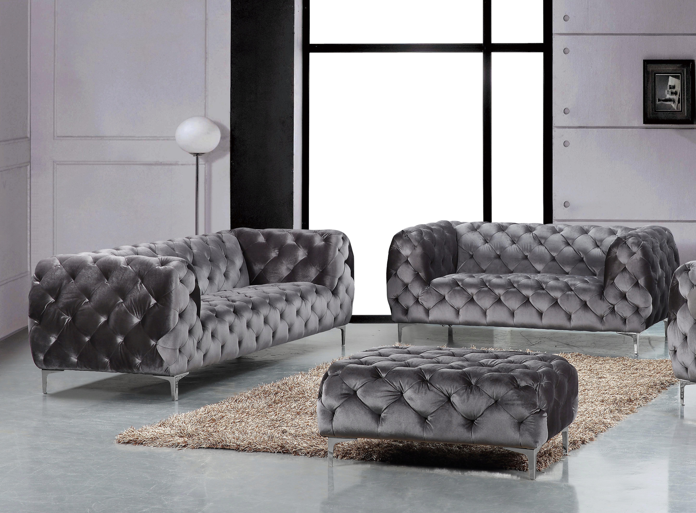 Grey Velvet Tufted Sofa Loveseat Set 2pcs Modern Meridian Furniture 646 Mercer 646gry Set 2