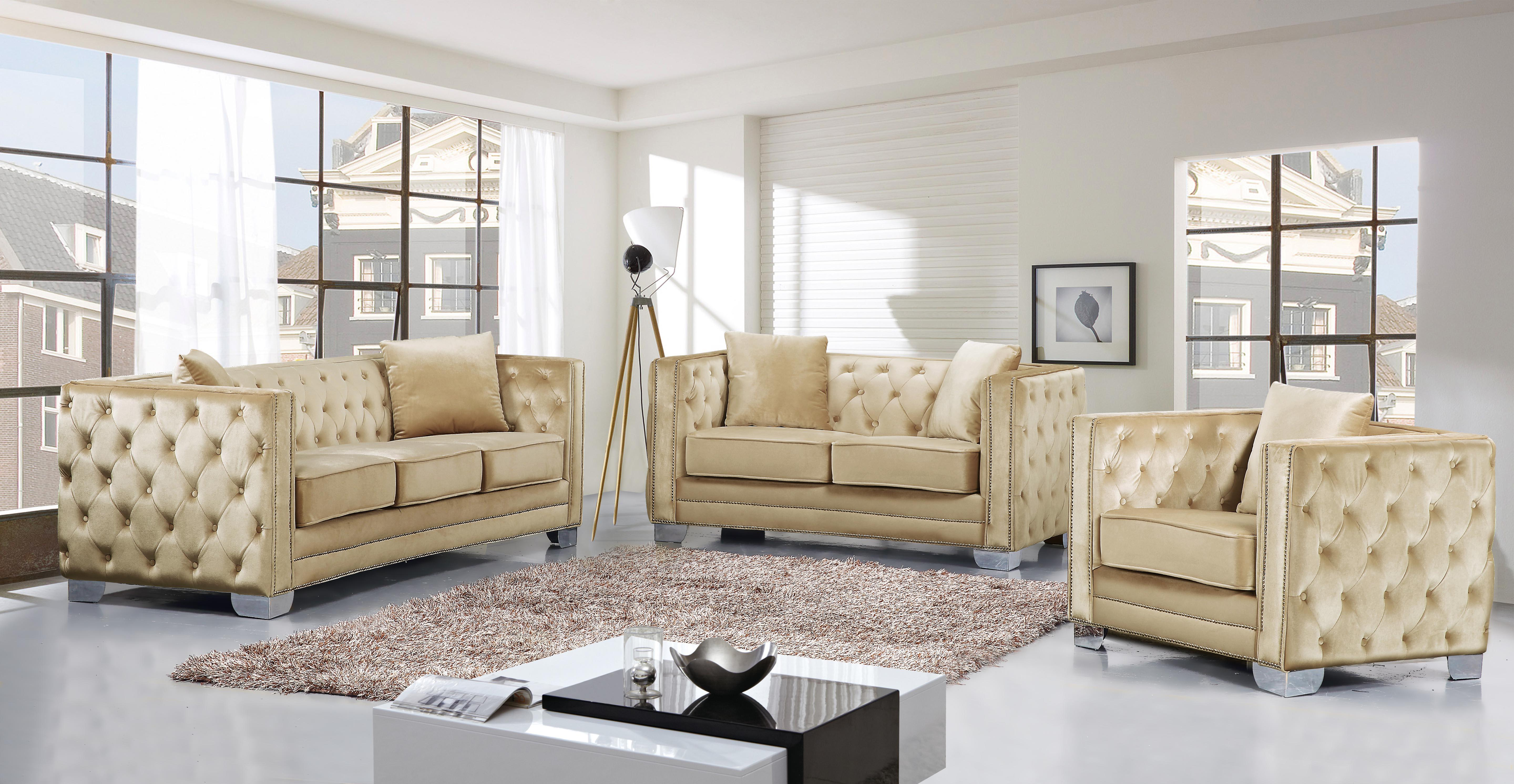 Picture of: Beige Velvet Tufted Sofa Loveseat Chair Set 3 Pcs Meridian Furniture 648 Reese 648be Set 3