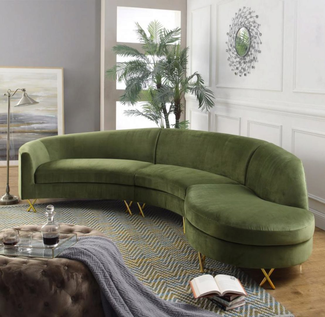 Picture of: Meridian Furniture 671 Serpentine Olive Velvet Gold Steel Legs 3 Pcs Sectional 671olive Sectional