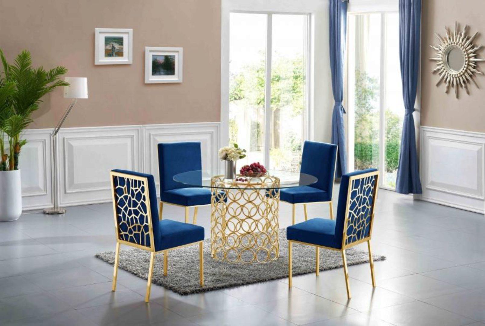 Meridian Furniture 737 Opal Navy Blue Velvet Gold Steel Dining Chairs Set Of 4 737navy C Set 4