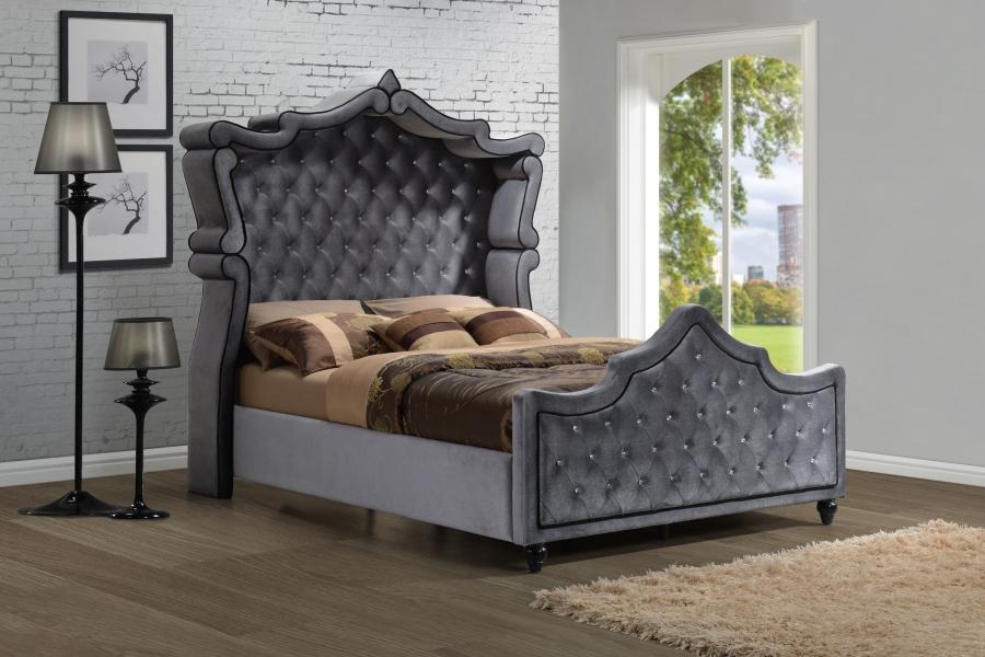 meridian hudson canopy king size bedroom set 3pcs in grey