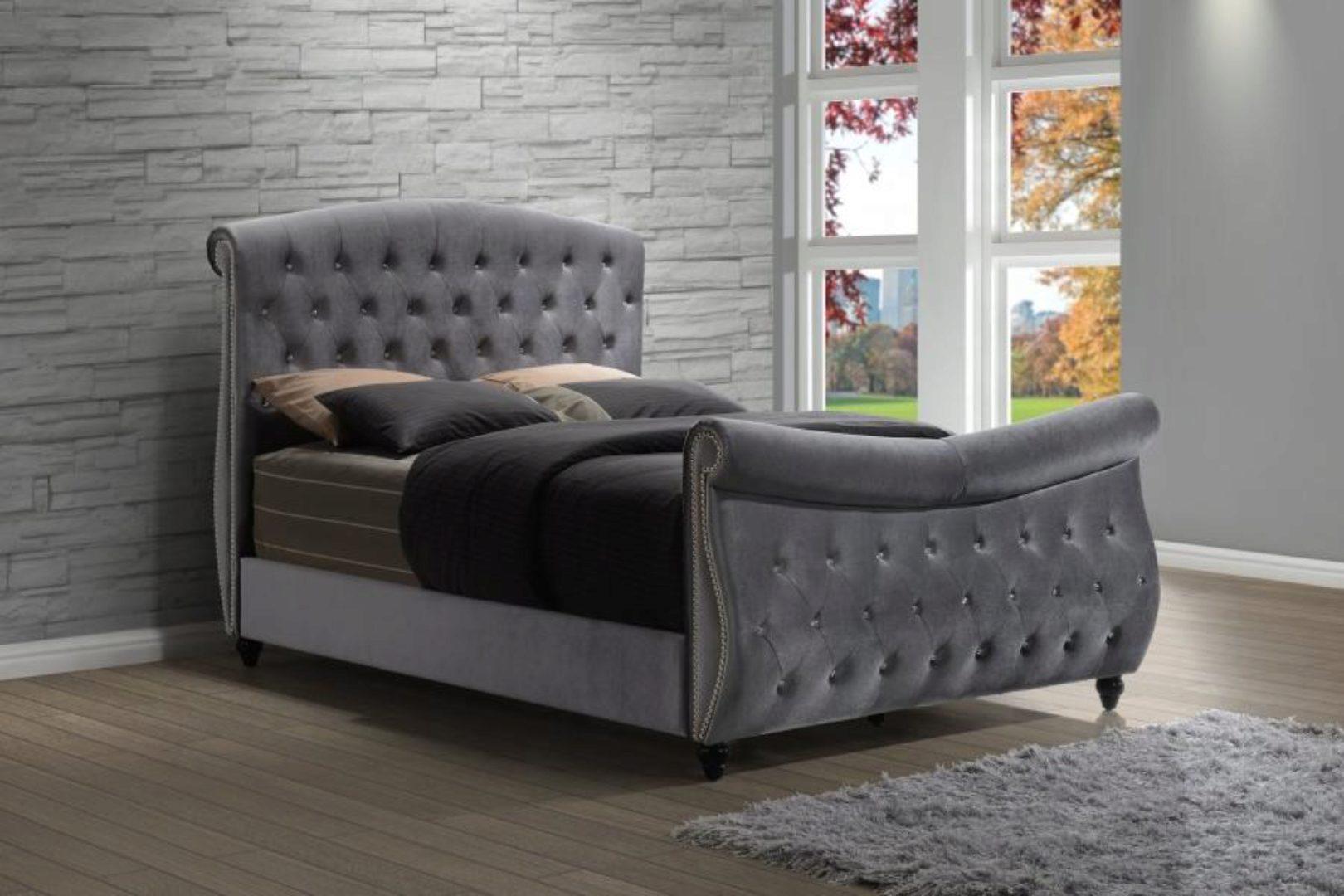 meridian hudson sleigh king size bedroom set 6pcs in grey