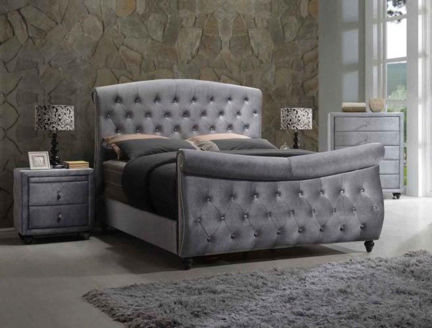 meridian hudson sleigh king size bedroom set 3pcs in gray